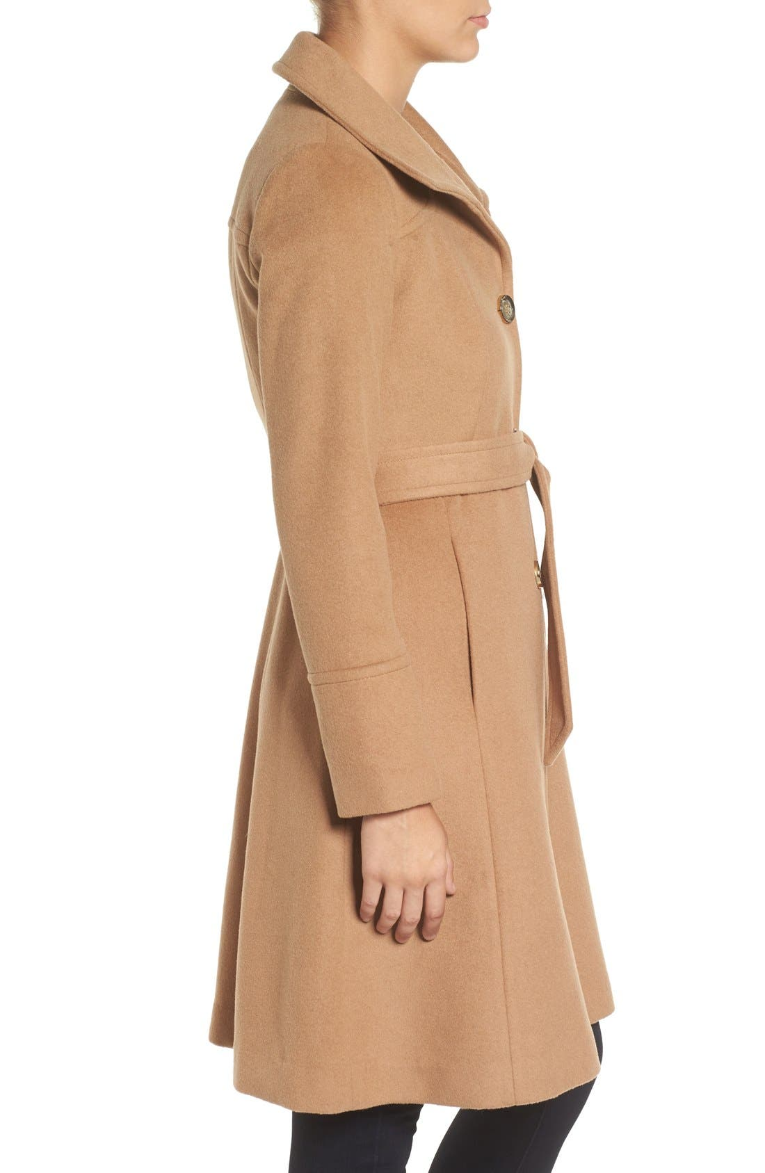 Luxe Wool Blend Belted Long A-Line Coat,                             Alternate thumbnail 6, color,