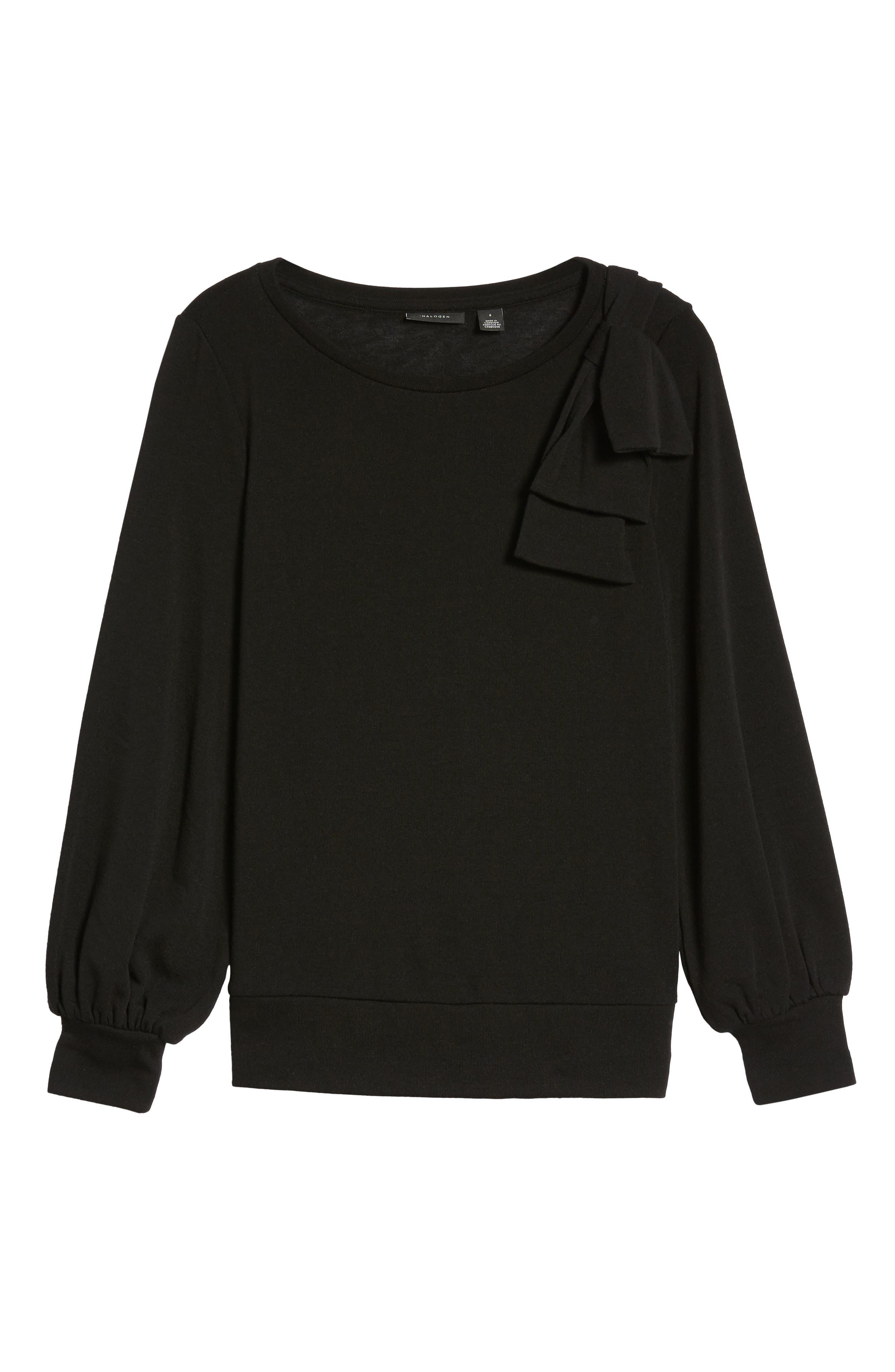 Bow Knit Sweatshirt,                             Alternate thumbnail 6, color,                             001