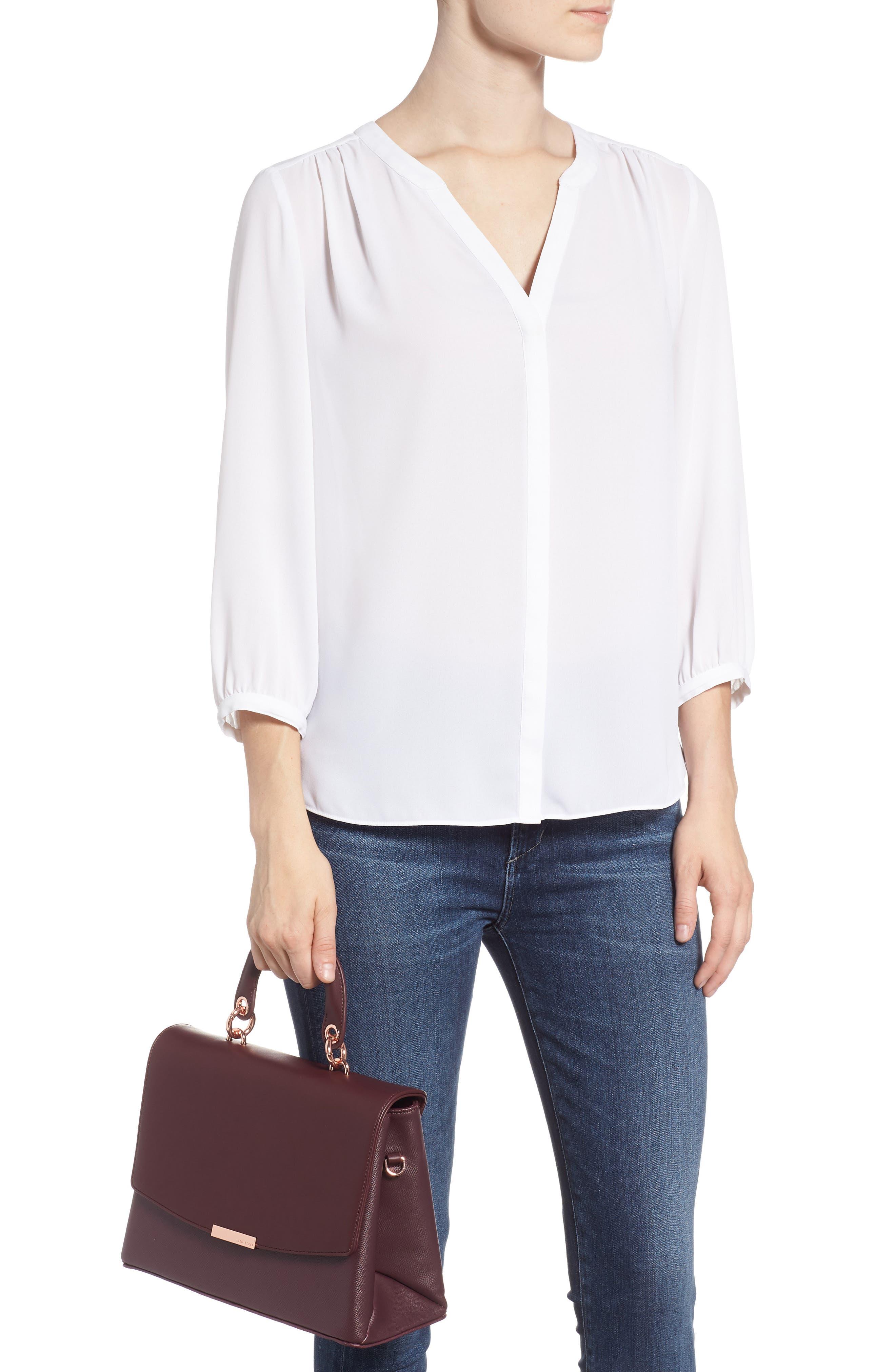 Keiira Lady Bag Faux Leather Top Handle Satchel,                             Alternate thumbnail 2, color,                             DEEP PURPLE