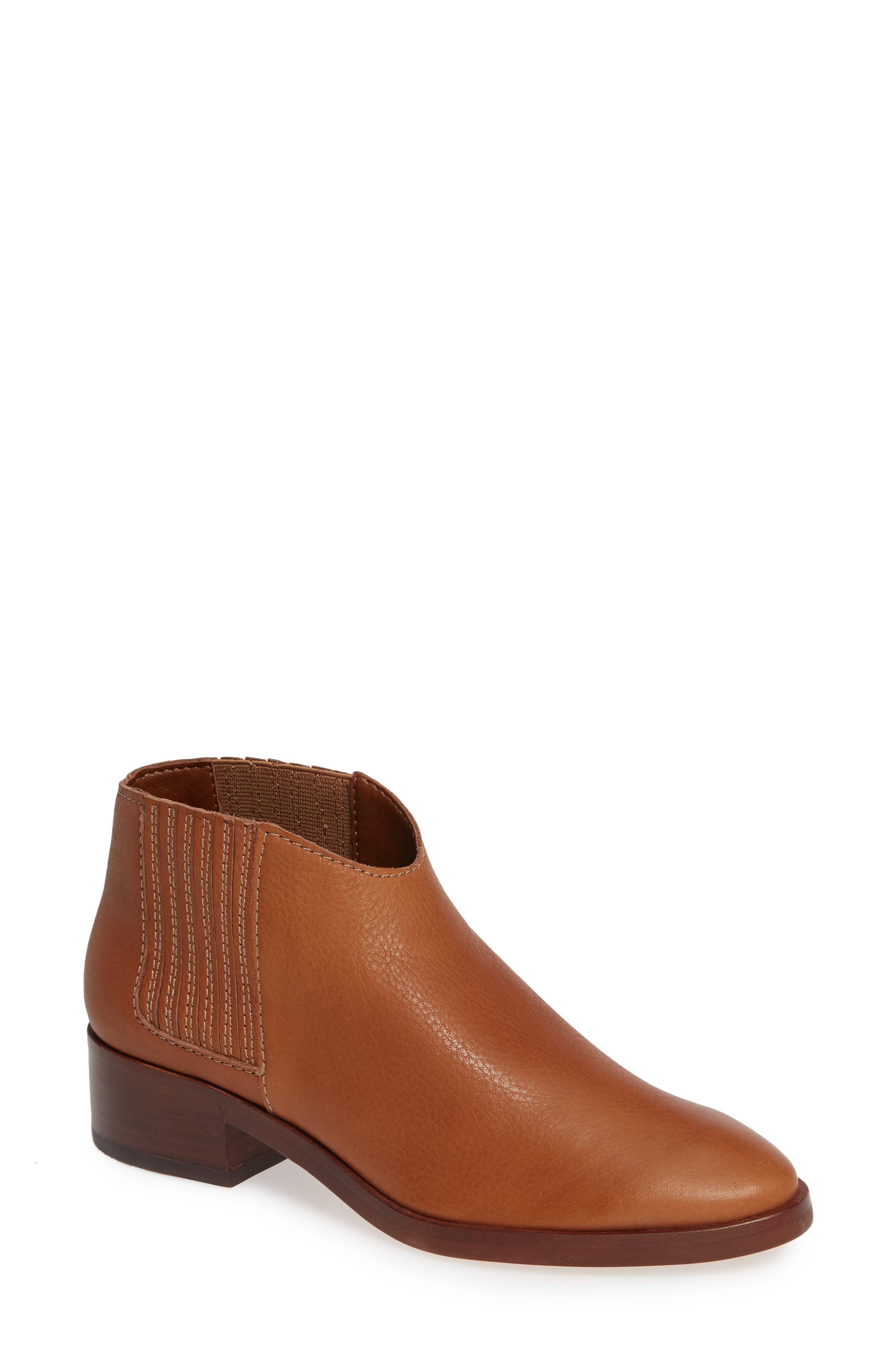 Towne Bootie,                             Main thumbnail 1, color,                             BROWN LEATHER