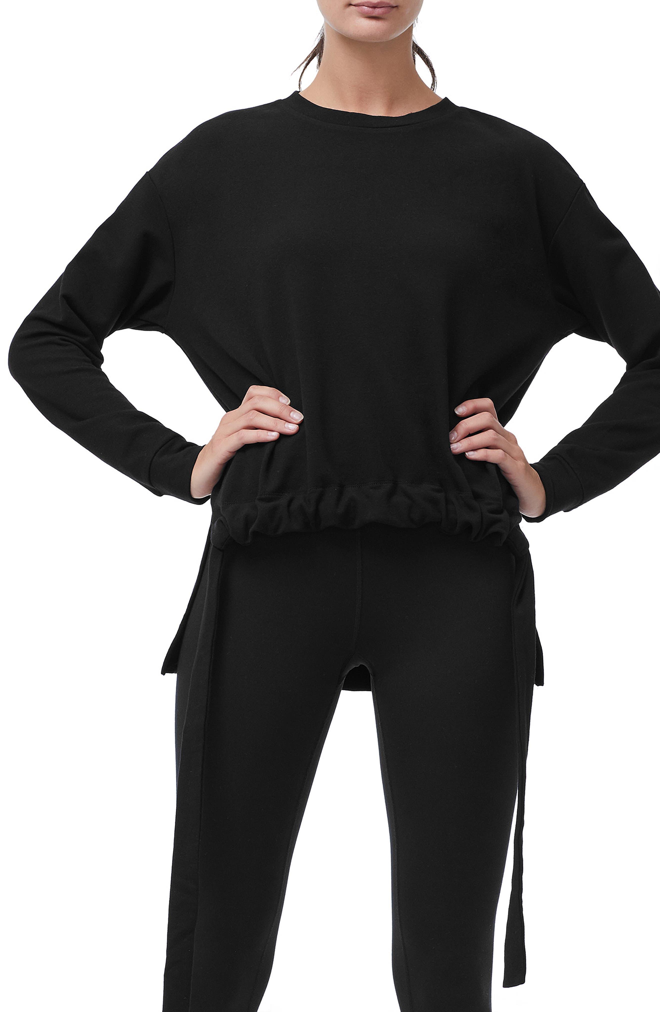 Ruched Hem High/Low Sweatshirt,                             Main thumbnail 1, color,                             BLACK001