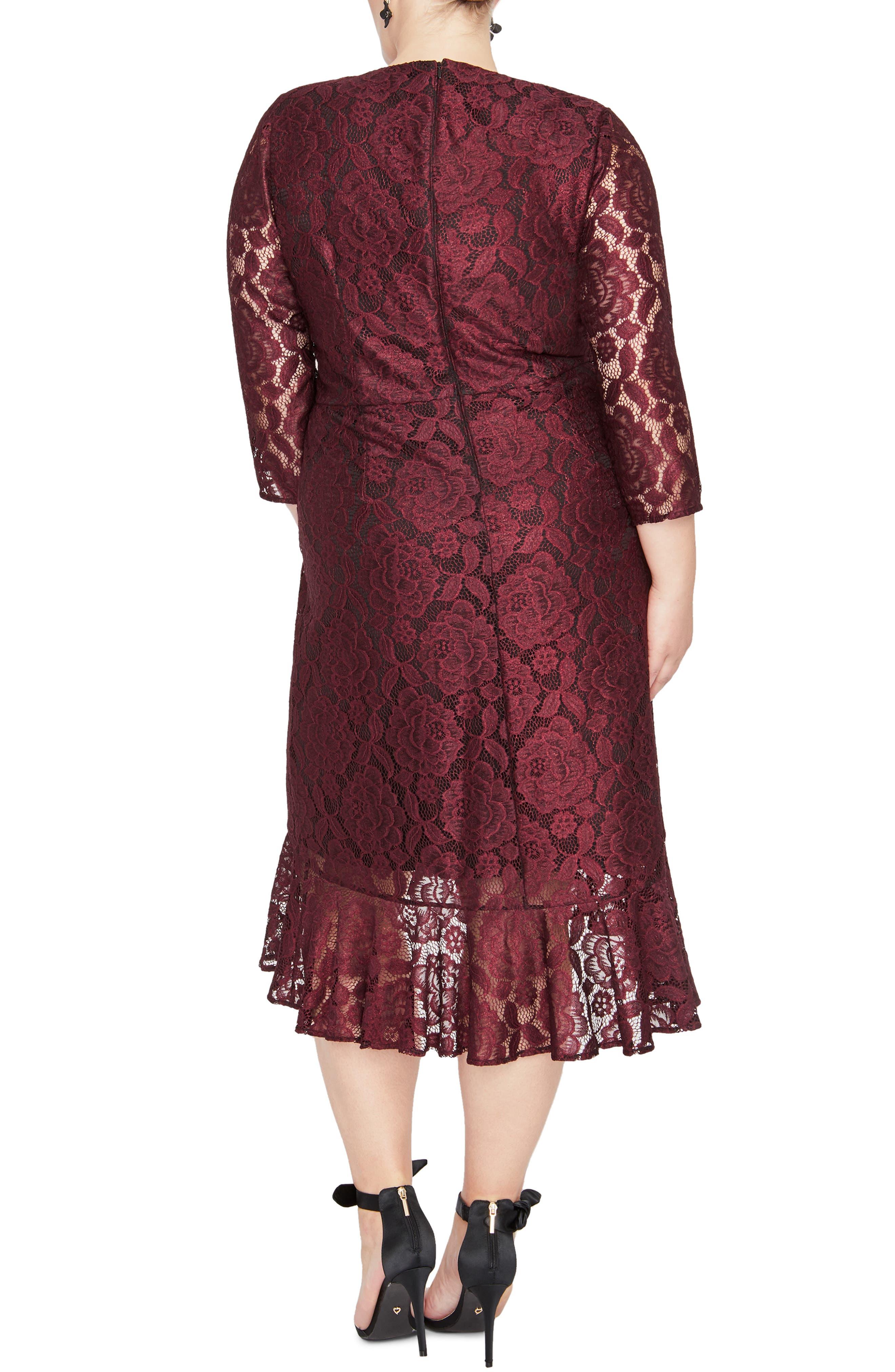 RACHEL RACHEL ROY,                             Parker Lace A-Line Dress,                             Alternate thumbnail 2, color,                             OXBLOOD COMBO