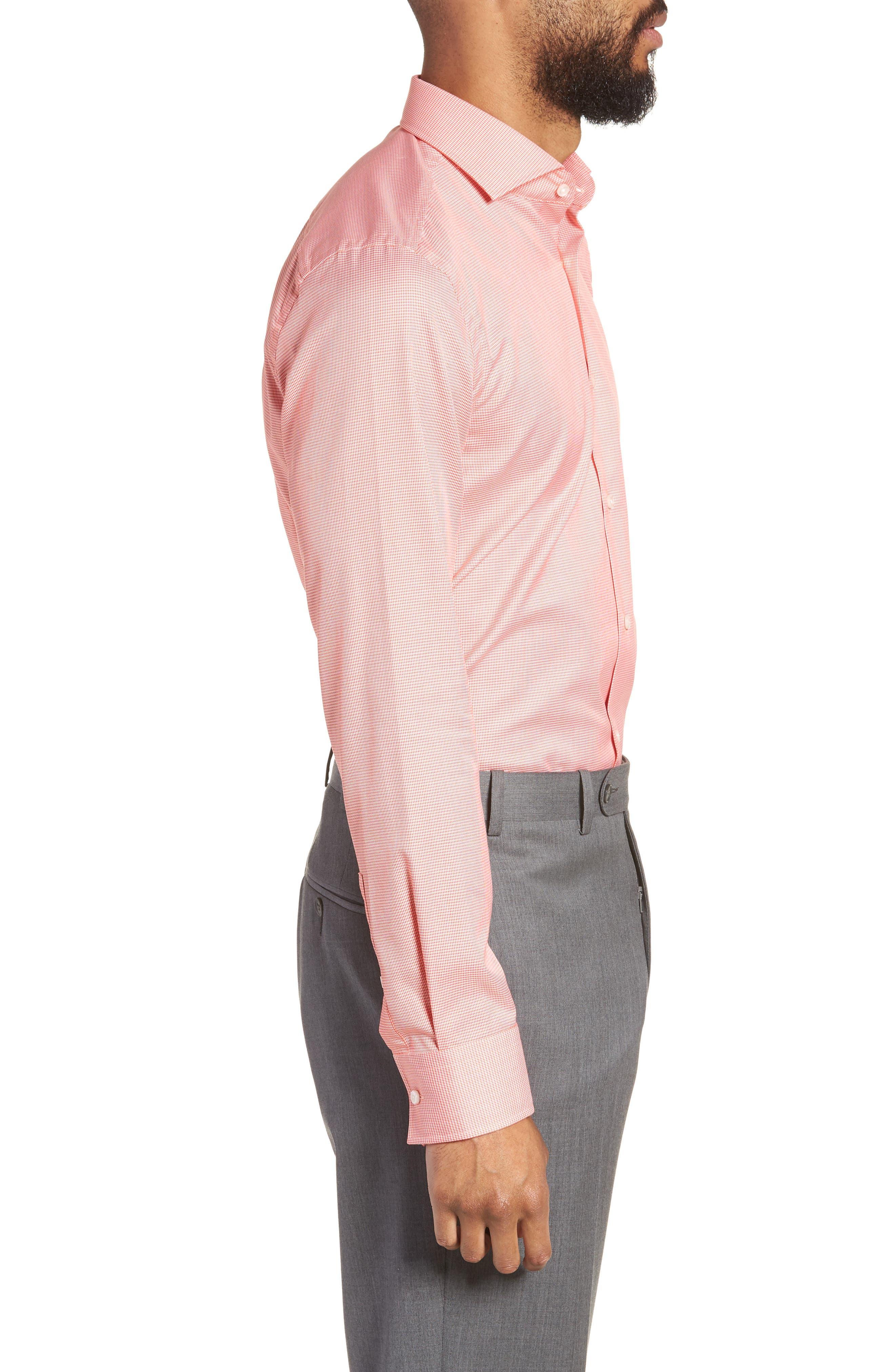 Jason Slim Fit Houndstooth Dress Shirt,                             Alternate thumbnail 4, color,                             813
