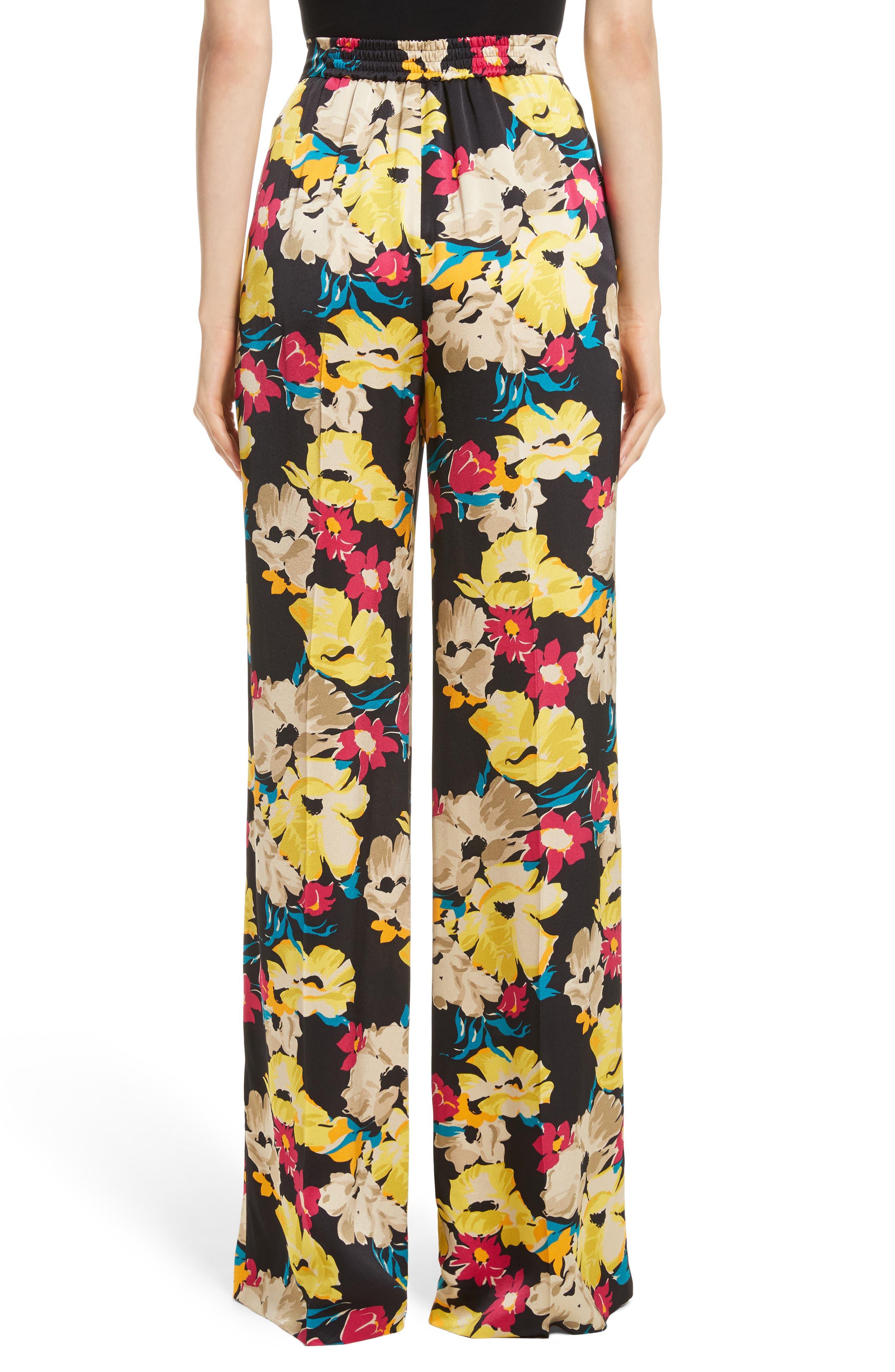Floral Print Wide Leg Pants,                             Alternate thumbnail 2, color,                             001