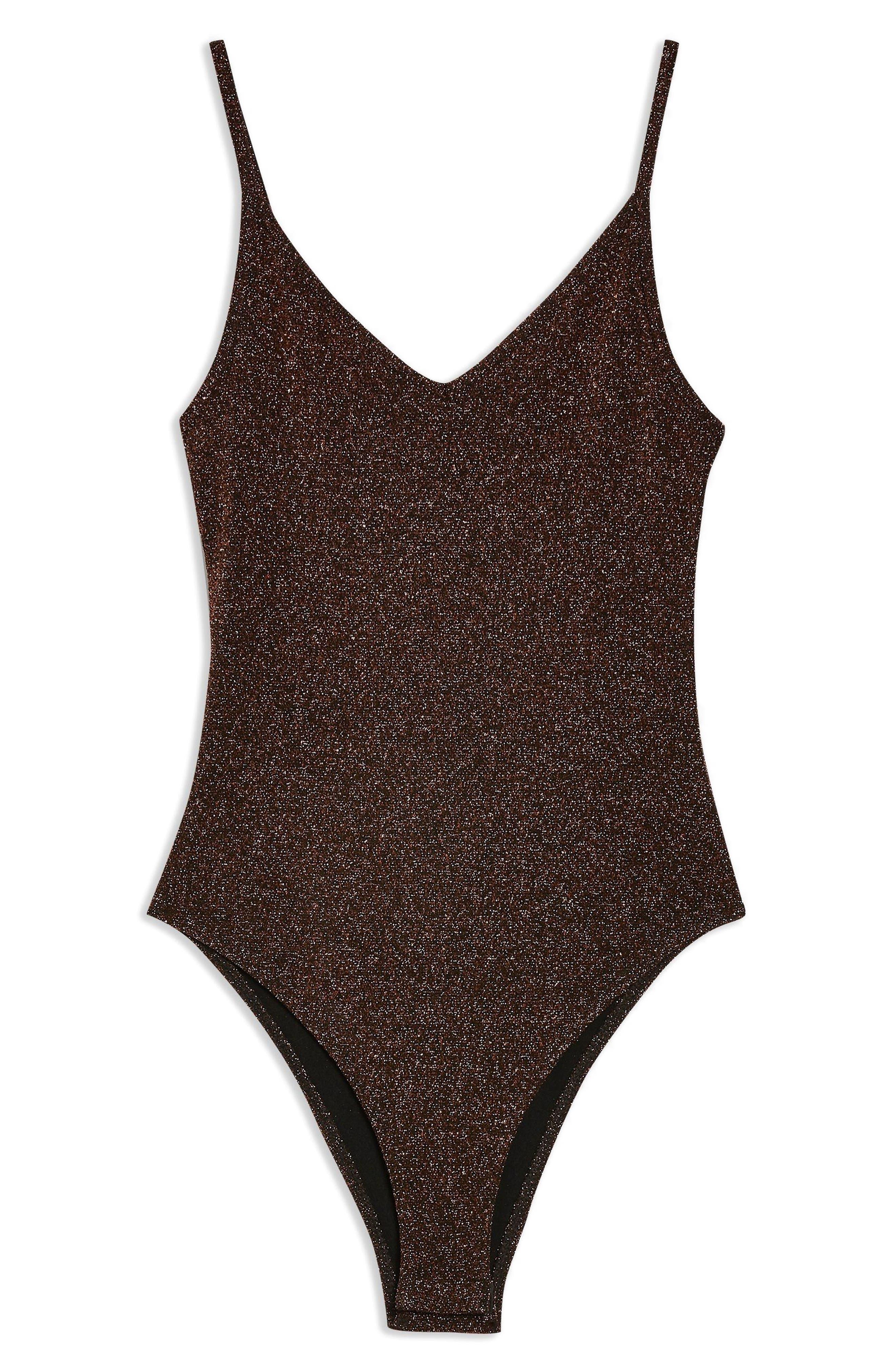 TOPSHOP,                             Metallic Bodysuit,                             Alternate thumbnail 4, color,                             220