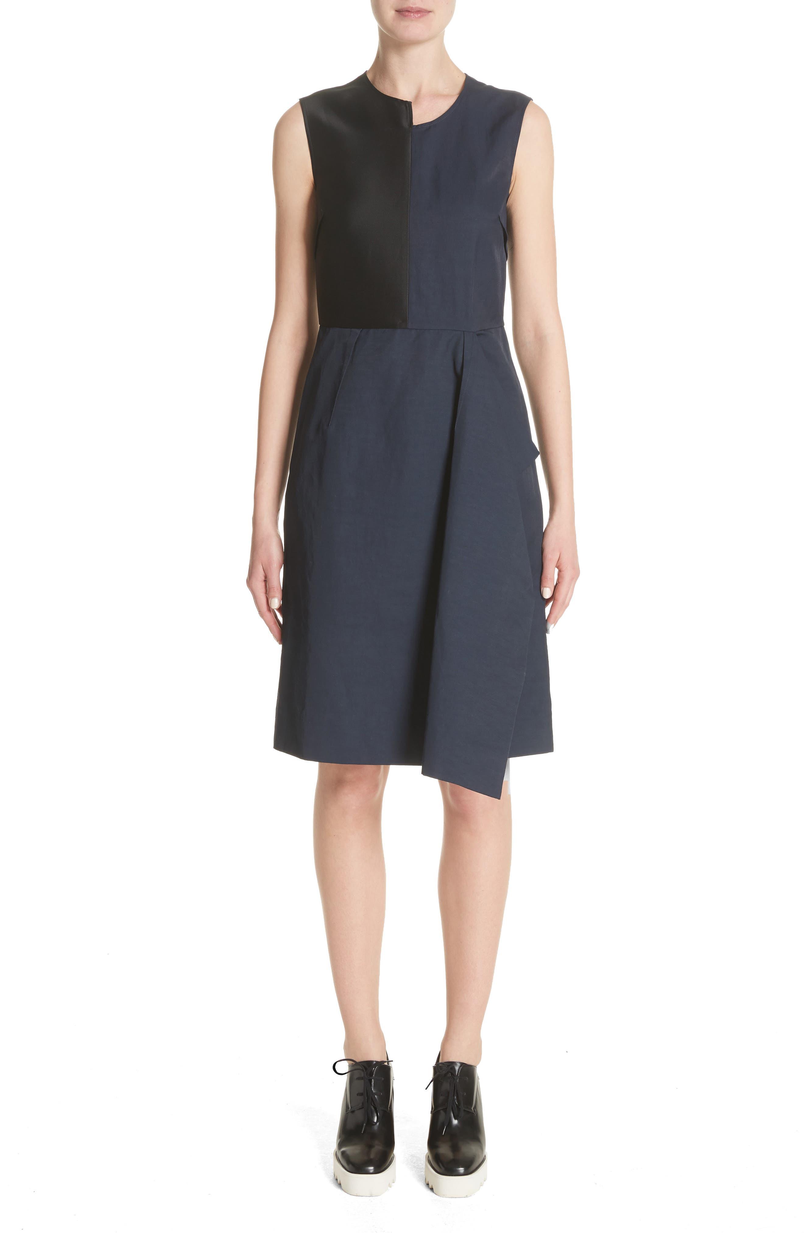 Patchwork A-Line Dress,                             Main thumbnail 1, color,                             001