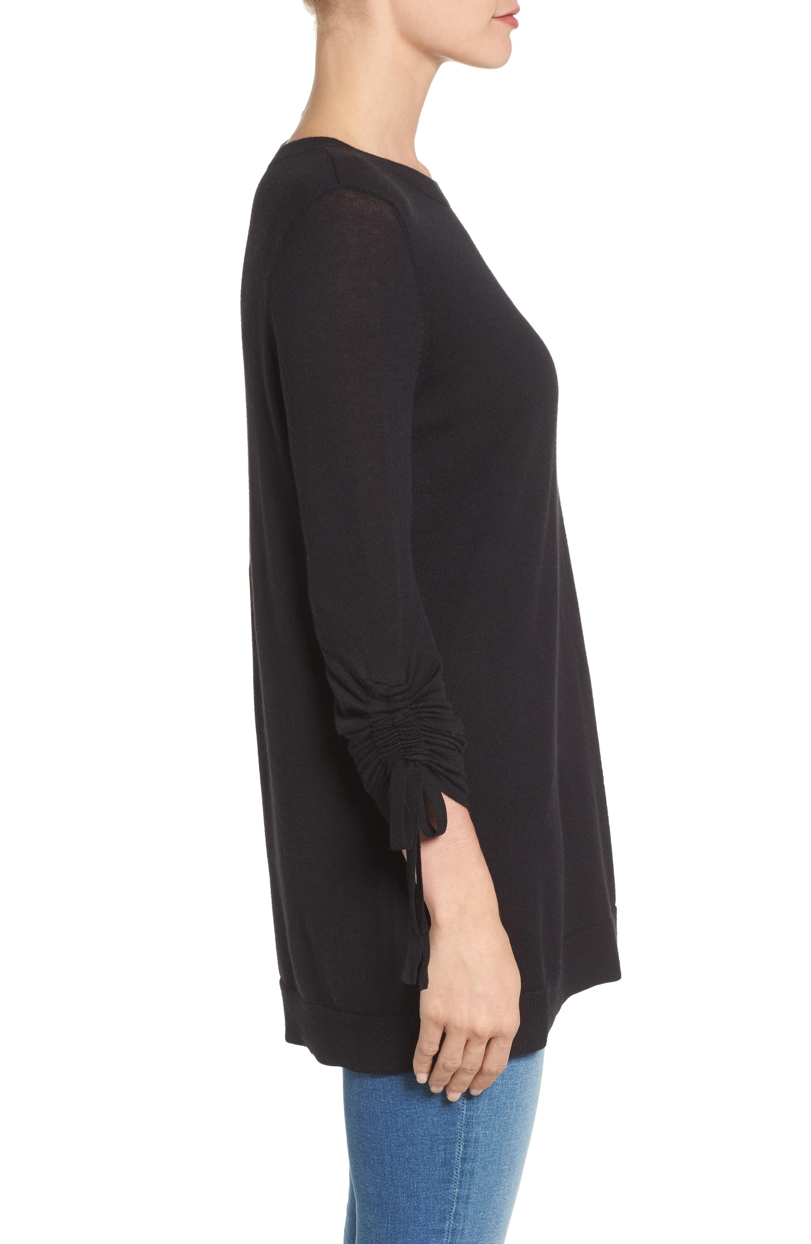 Ruched Sleeve Tunic Sweater,                             Alternate thumbnail 11, color,
