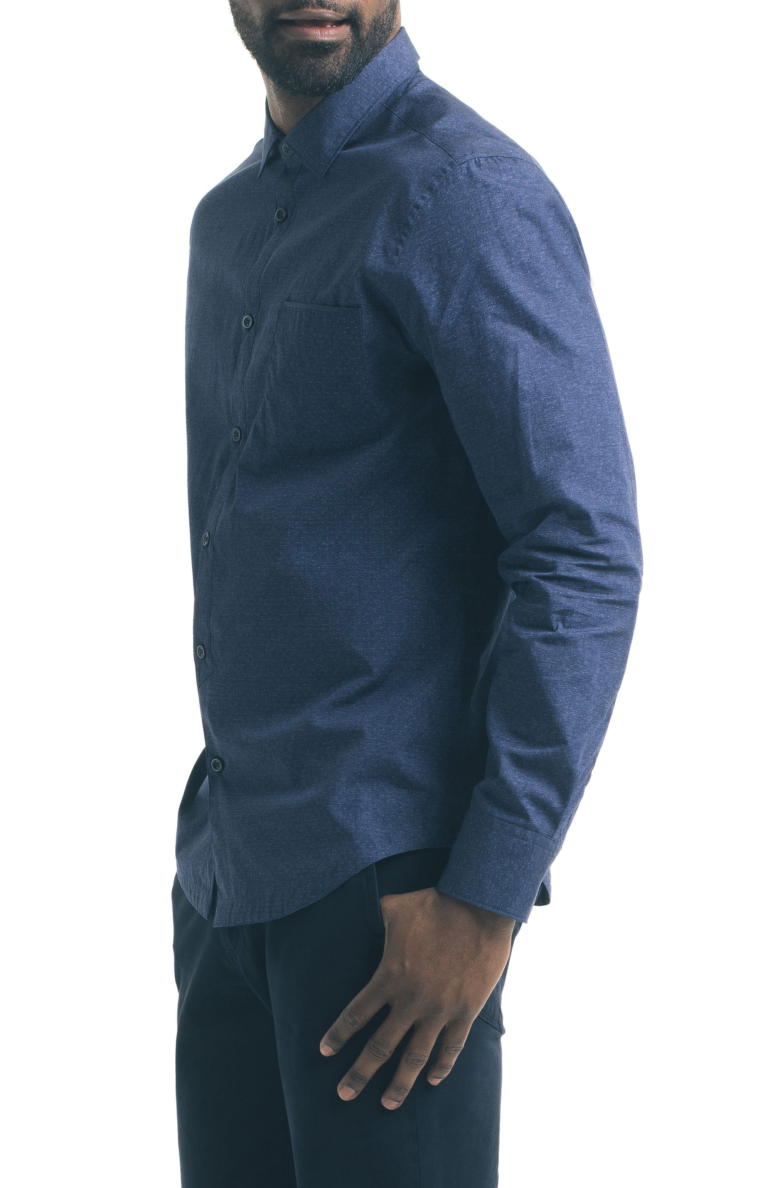 Slim Fit Blue Dot Sport Shirt,                             Alternate thumbnail 3, color,                             400