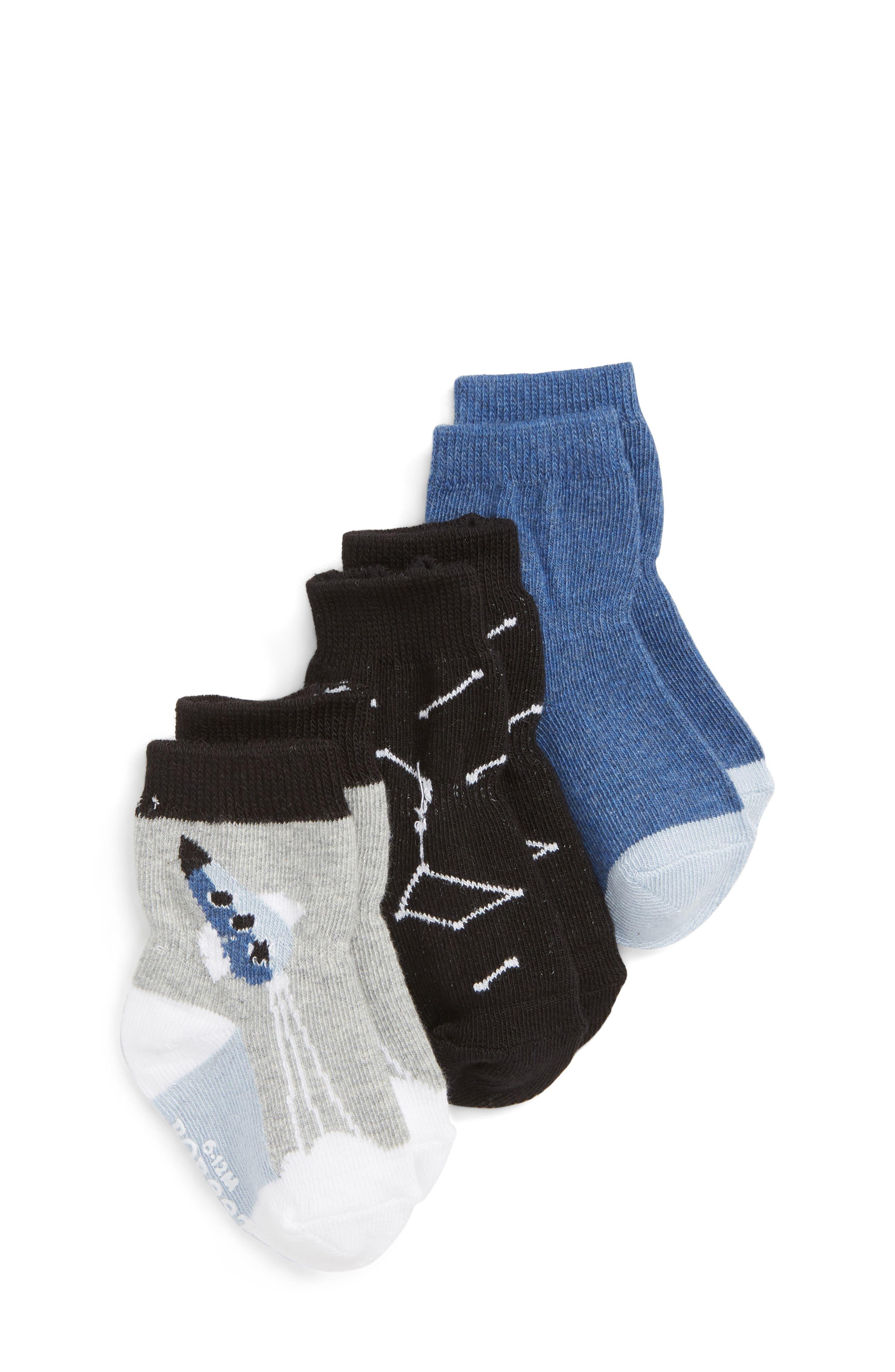 Blast Off 3-Pack Socks,                             Main thumbnail 1, color,                             BLACK/ GREY/ BLUE
