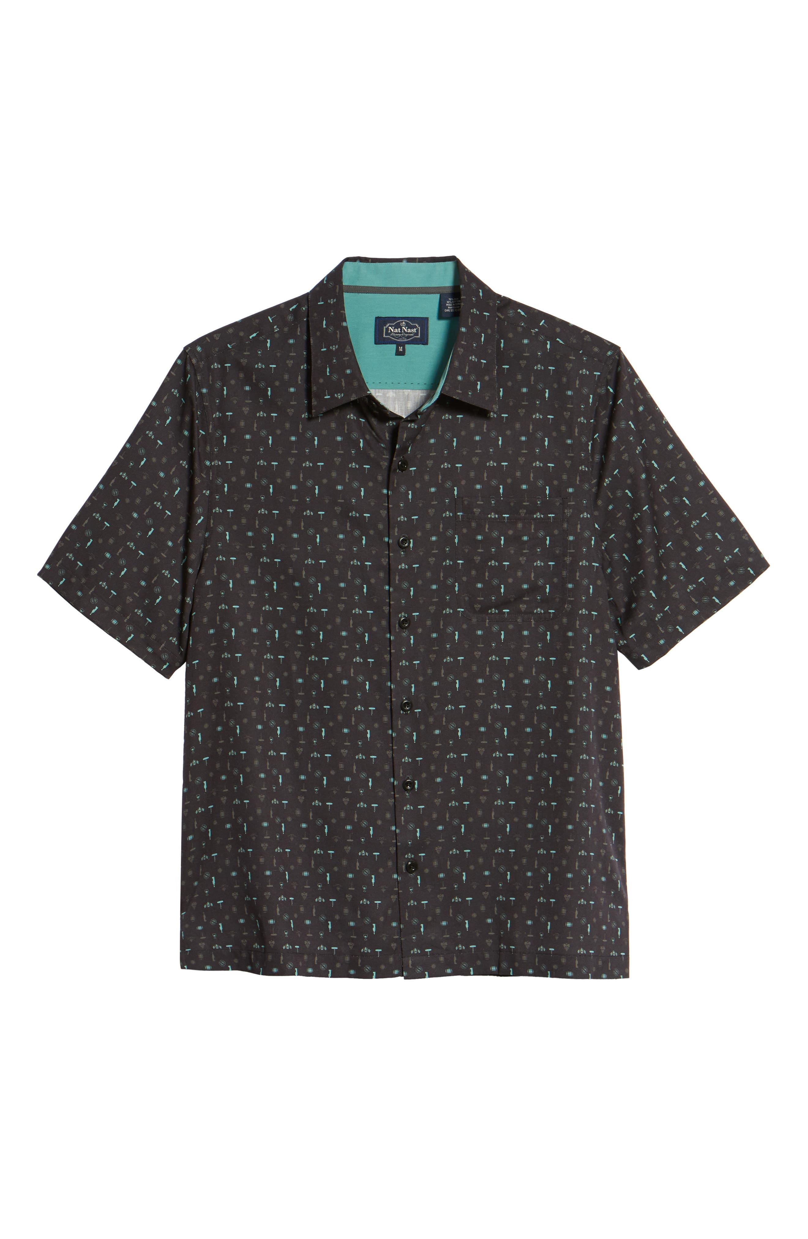 Cocktails Classic Fit Silk Blend Sport Shirt,                             Alternate thumbnail 6, color,                             001