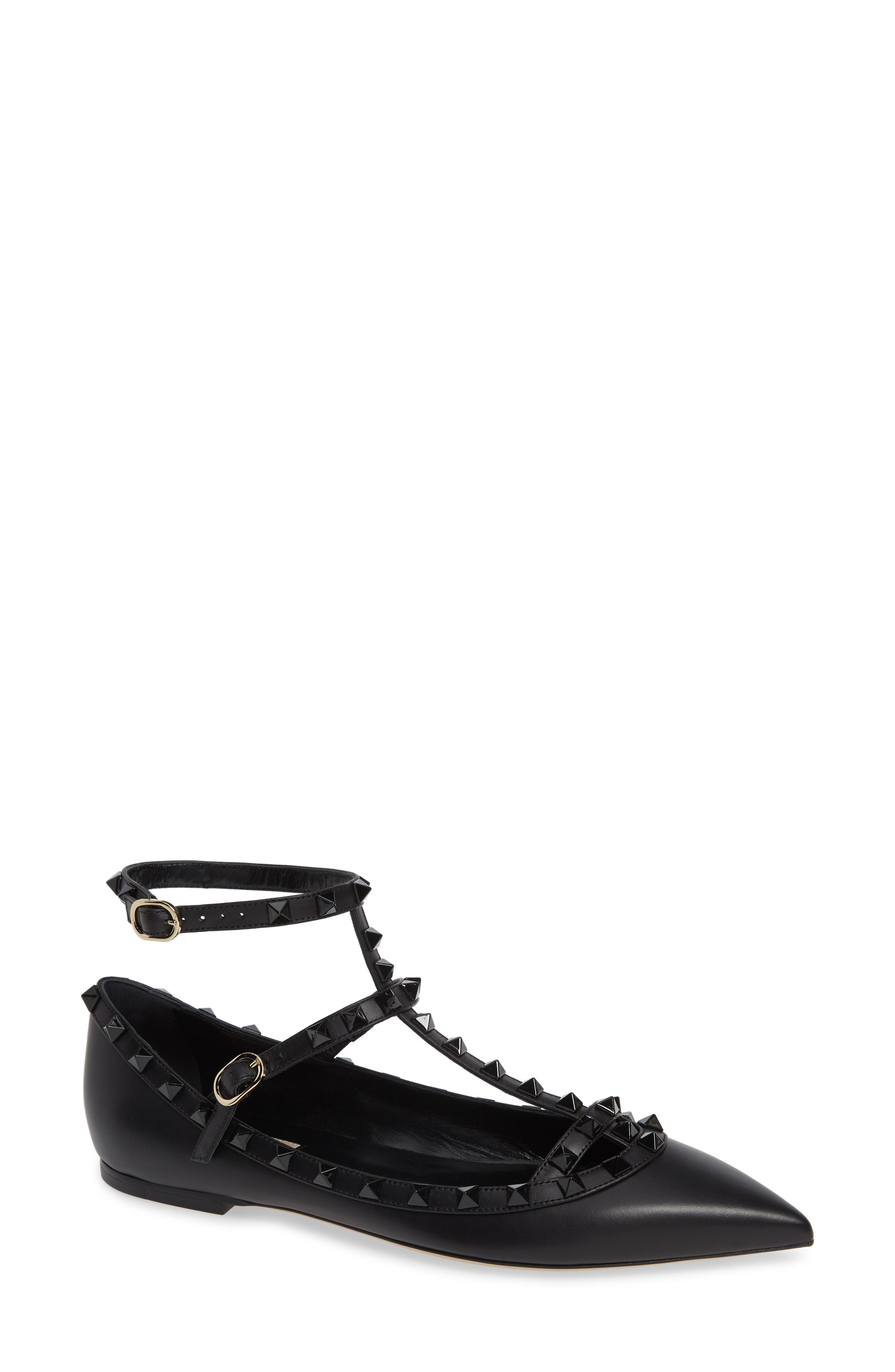 Rockstud Double Ankle Strap Pointy Toe Flat,                             Main thumbnail 1, color,                             BLACK