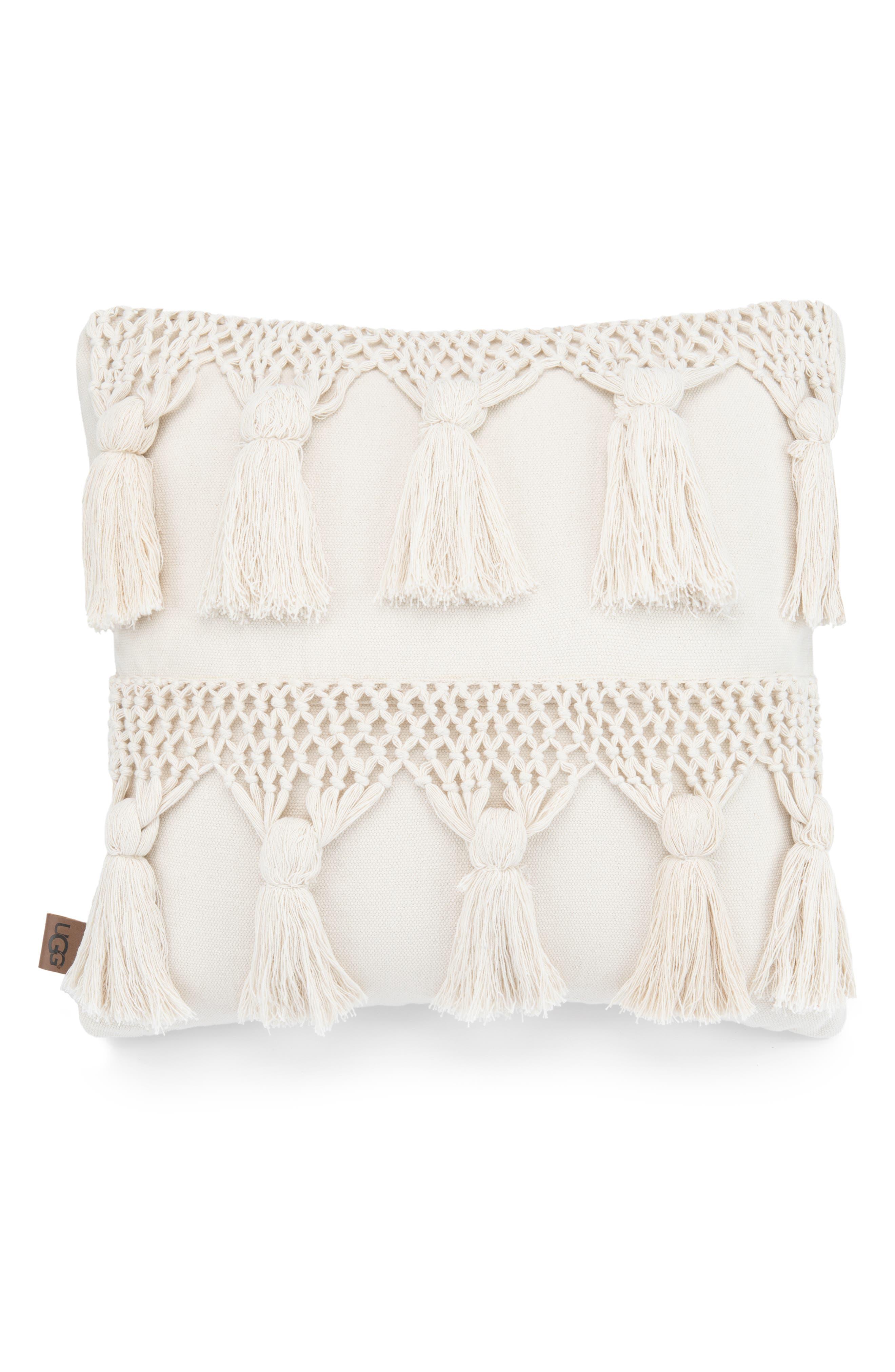 UGG<SUP>®</SUP> Playa Tassel Accent Pillow, Main, color, NATURAL