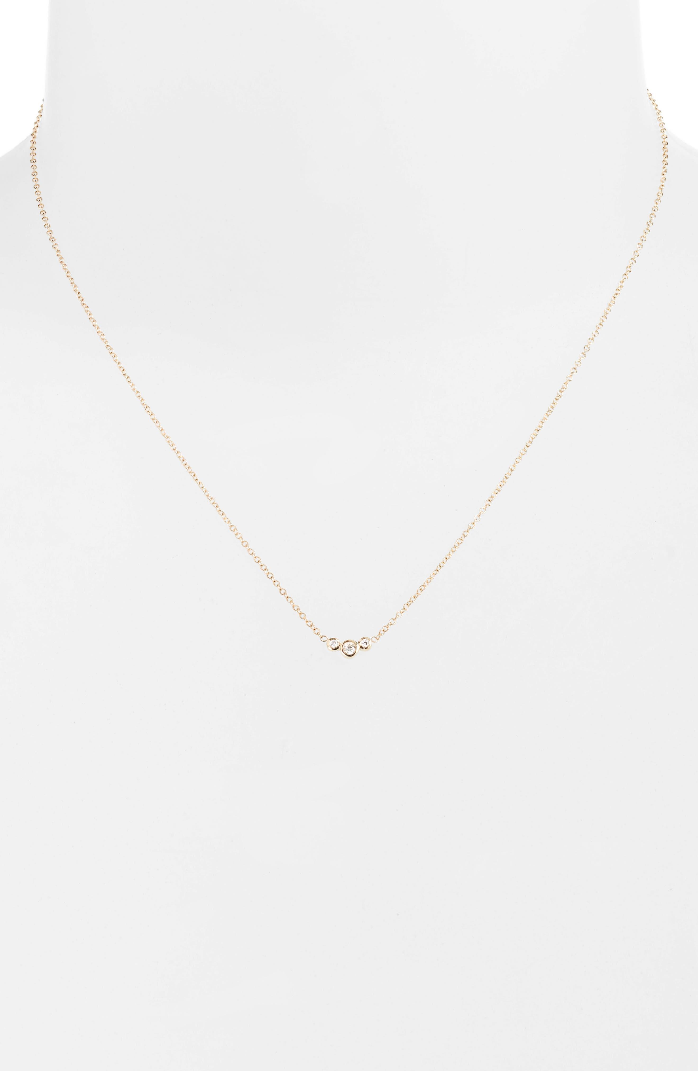 Curved 3-Diamond Bezel Pendant Necklace,                             Alternate thumbnail 2, color,                             YELLOW GOLD