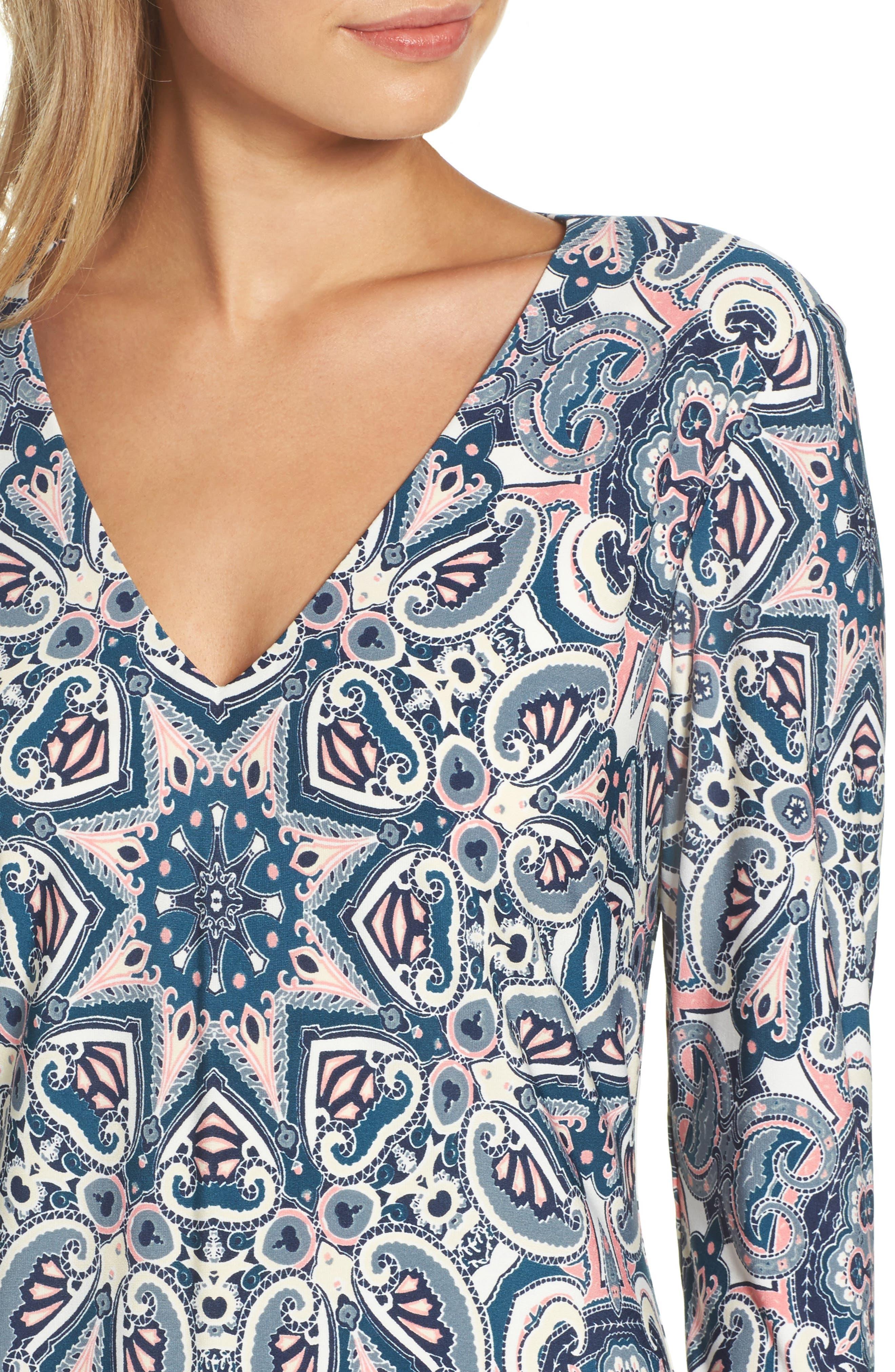 ELIZA J,                             Print Knit A-Line Dress,                             Alternate thumbnail 4, color,                             TEAL