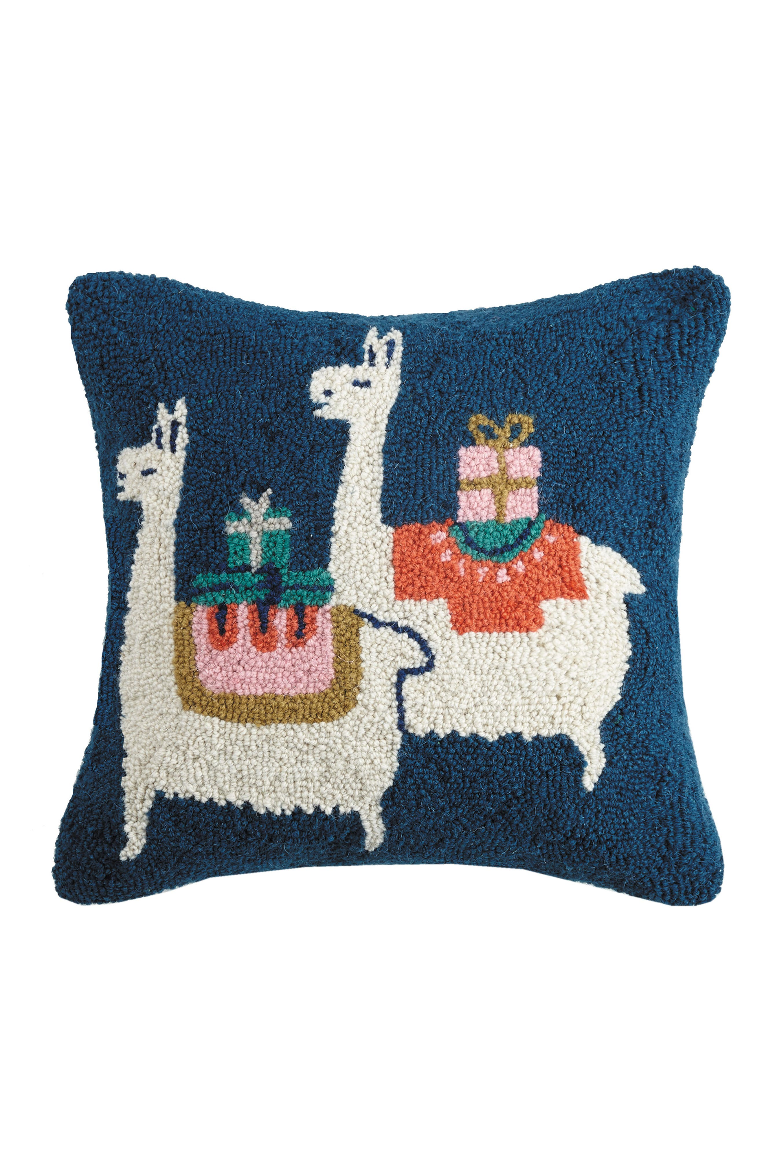 Presents from Llama Hooked Pillow,                         Main,                         color, BLUE MULTI
