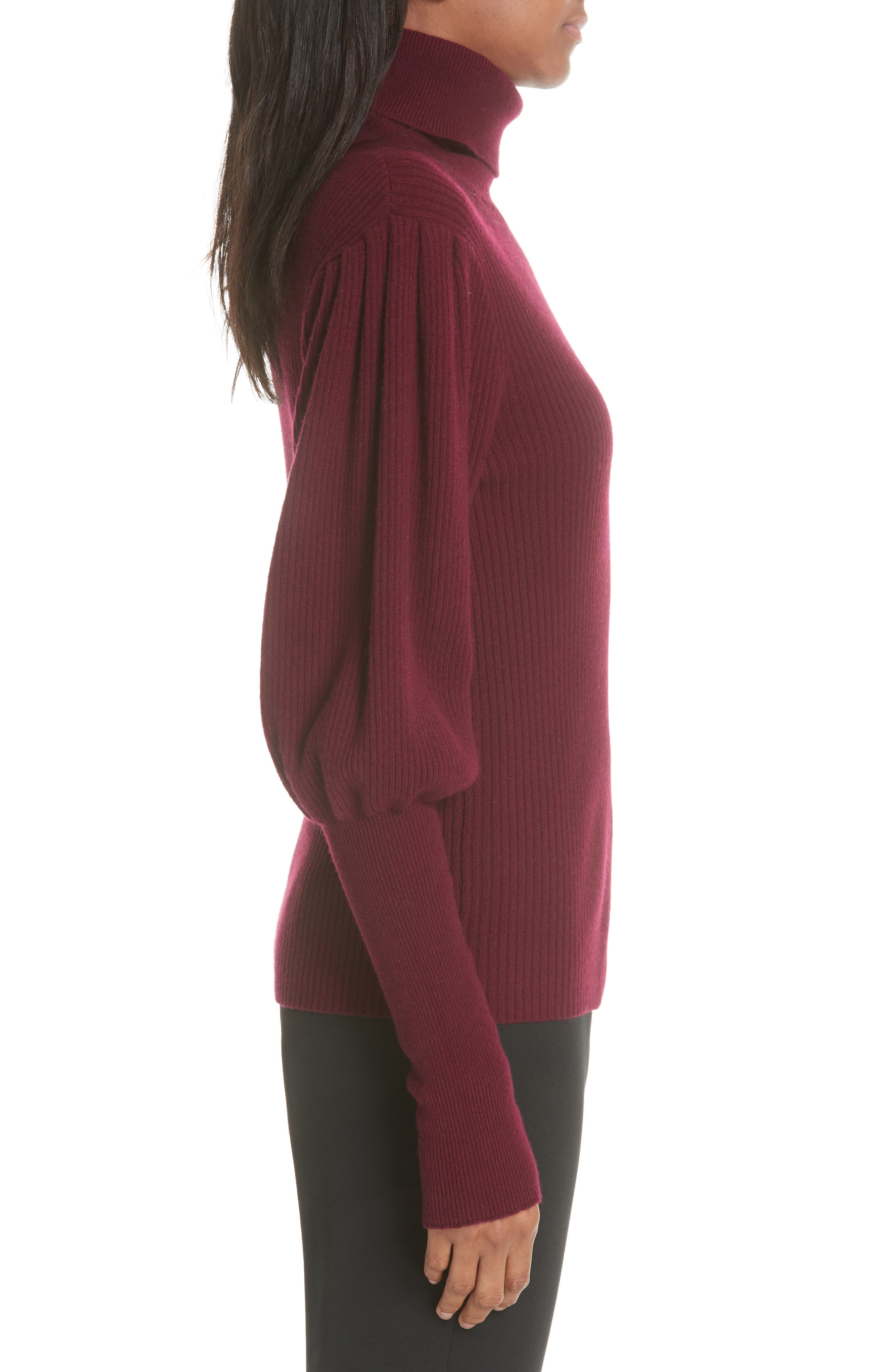 Bishop Sleeve Cashmere Sweater,                             Alternate thumbnail 3, color,                             933