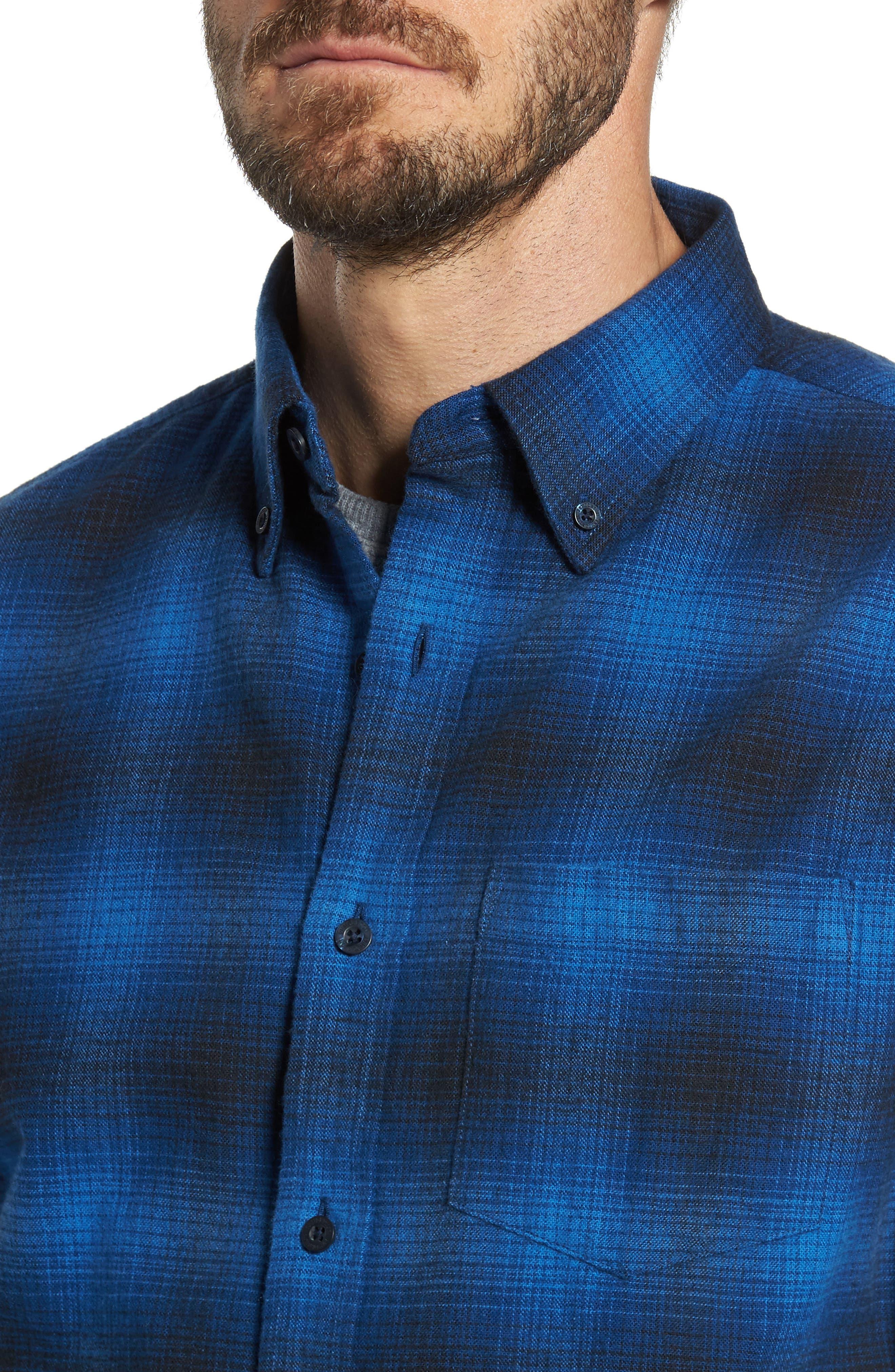 Lister Ombré Plaid Sport Shirt,                             Alternate thumbnail 7, color,