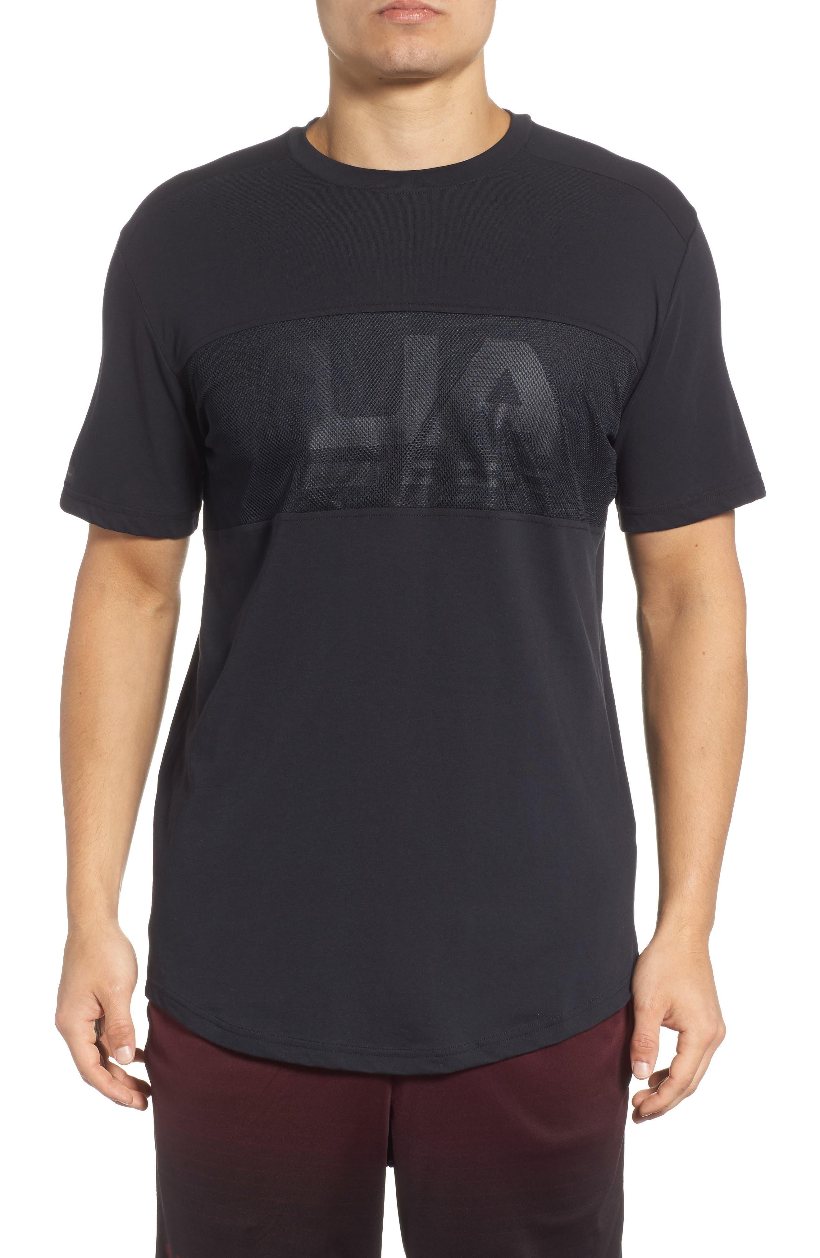 Mesh Panel T-Shirt,                         Main,                         color, BLACK