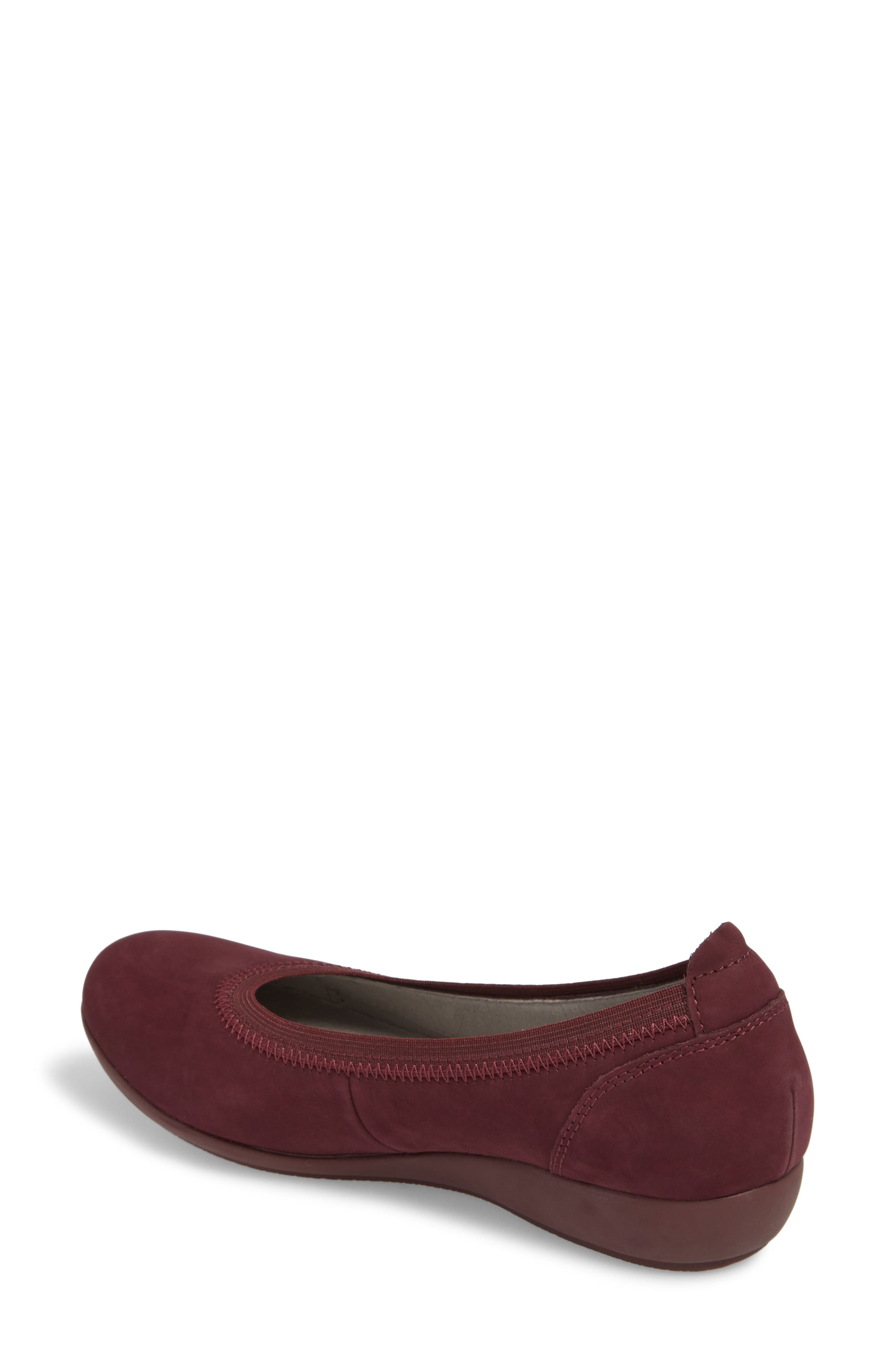 Kristen Ballet Flat,                             Alternate thumbnail 2, color,                             WINE MILLED NUBUCK