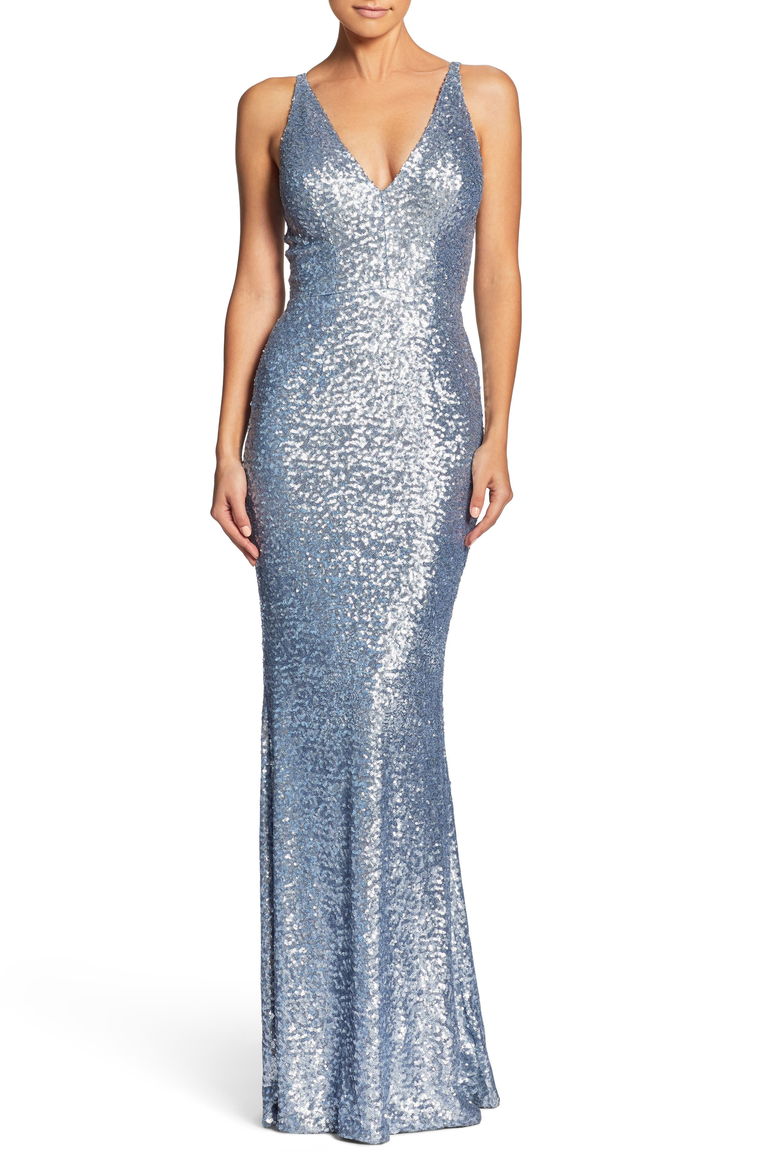 Dress The Population Harper Mermaid Gown, Blue