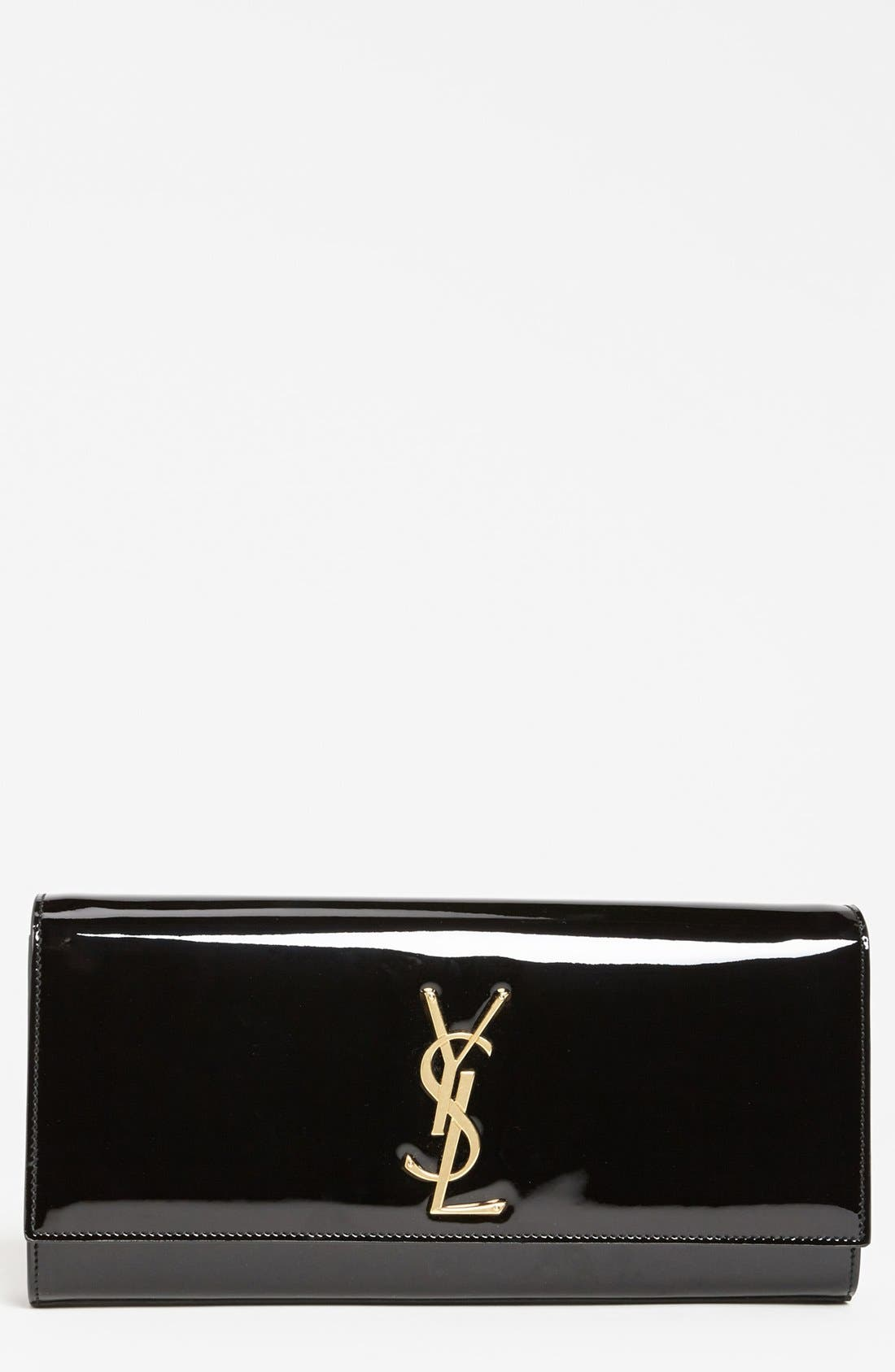 'Cassandre - Laque' Leather Clutch,                         Main,                         color, 001