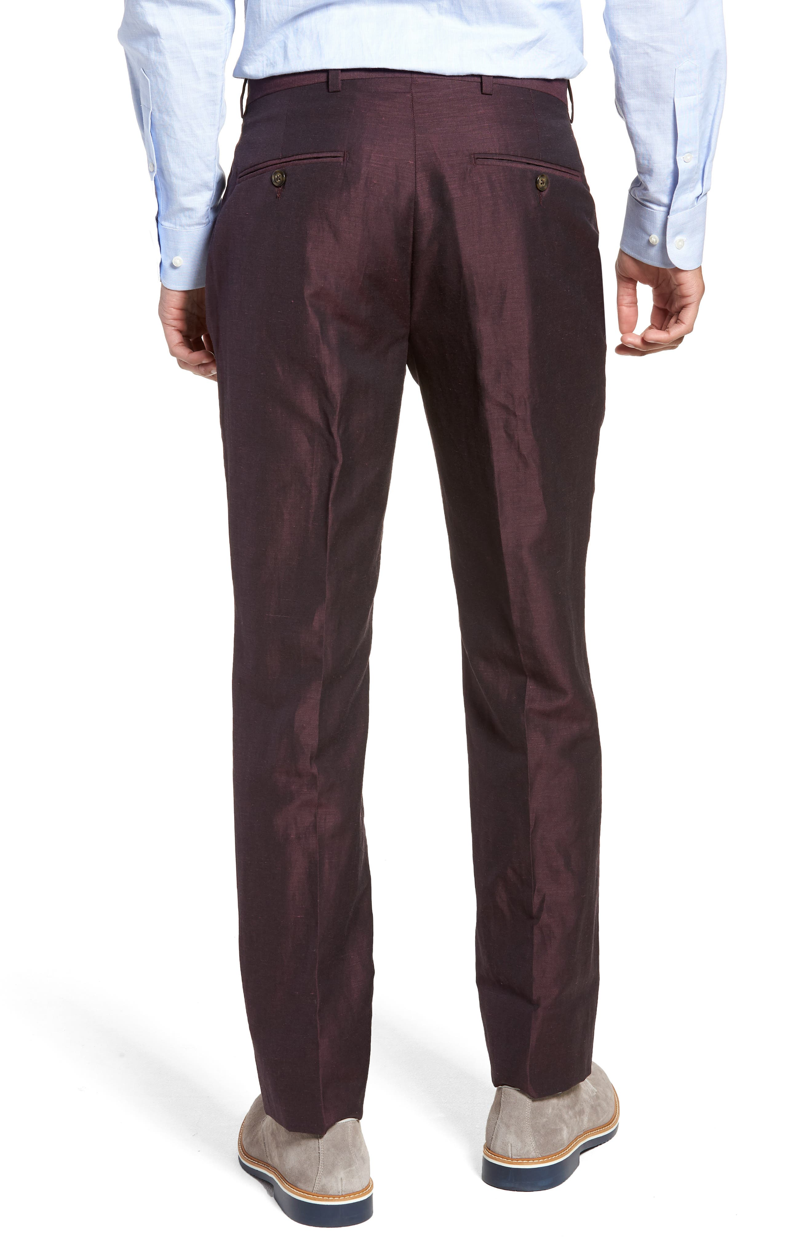 Dagger Flat Front Solid Wool & Linen Trousers,                             Alternate thumbnail 2, color,                             500