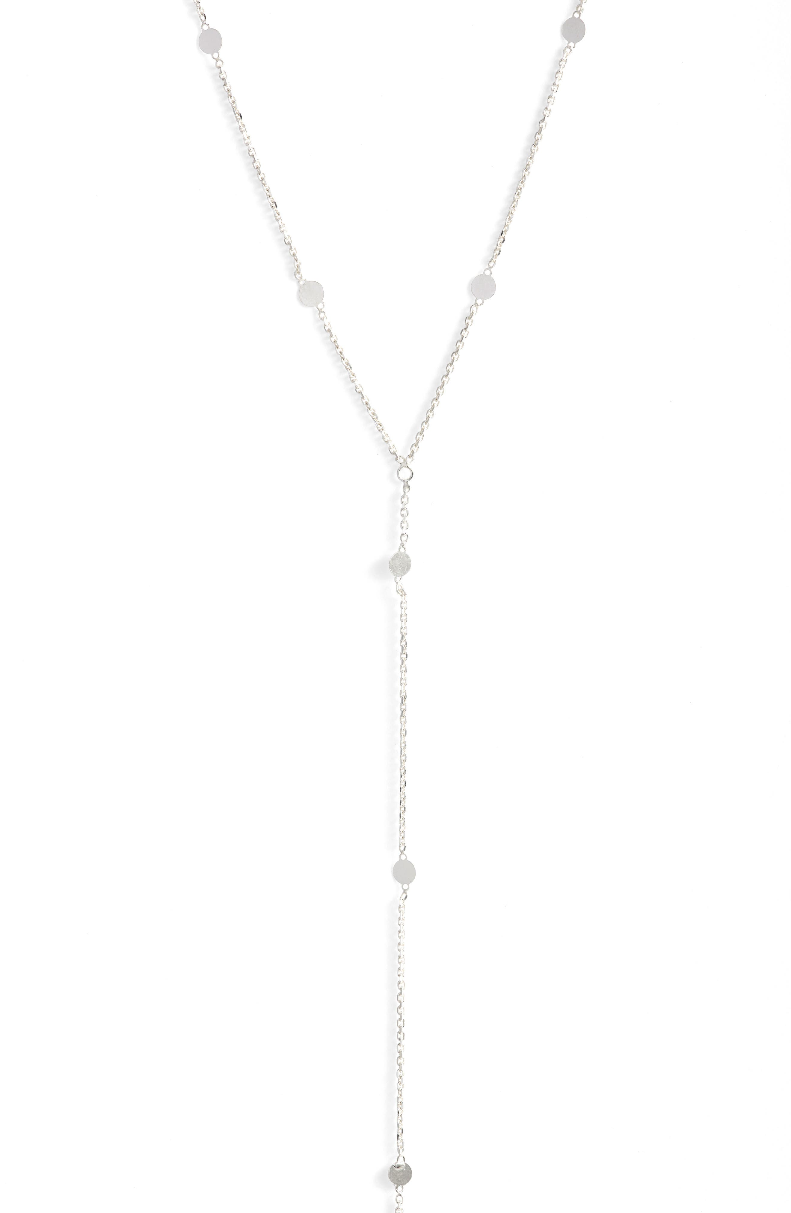 Mirror Station Long Y-Necklace,                         Main,                         color, SILVER