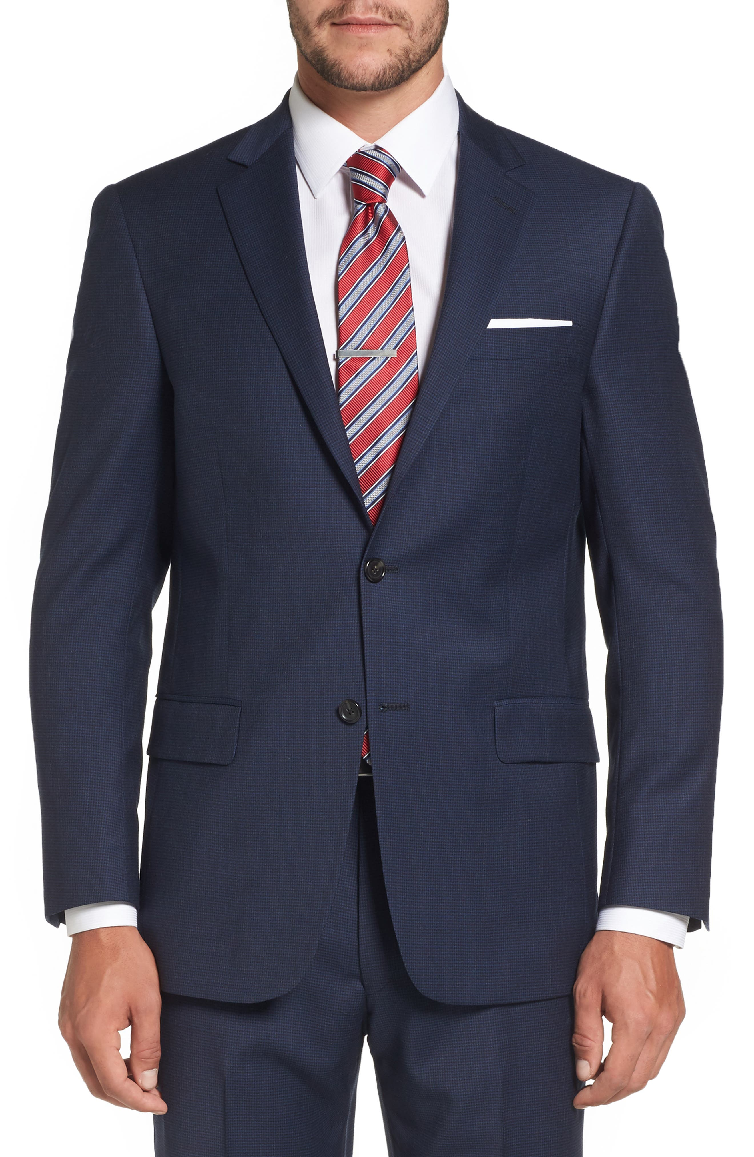 Classic Fit Check Stretch Wool Suit,                             Alternate thumbnail 5, color,                             401