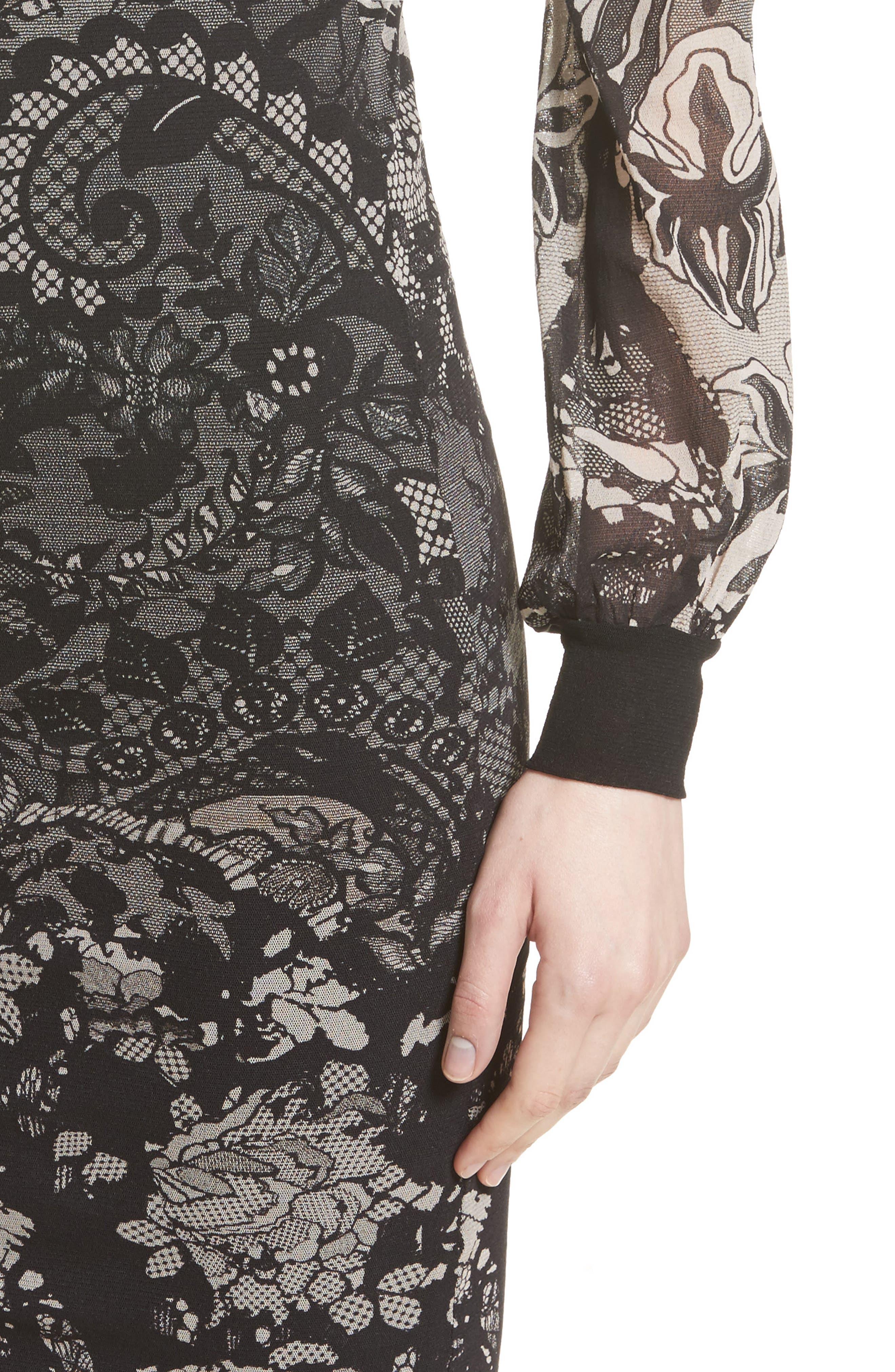 Tulle Sheath Dress,                             Alternate thumbnail 4, color,                             001