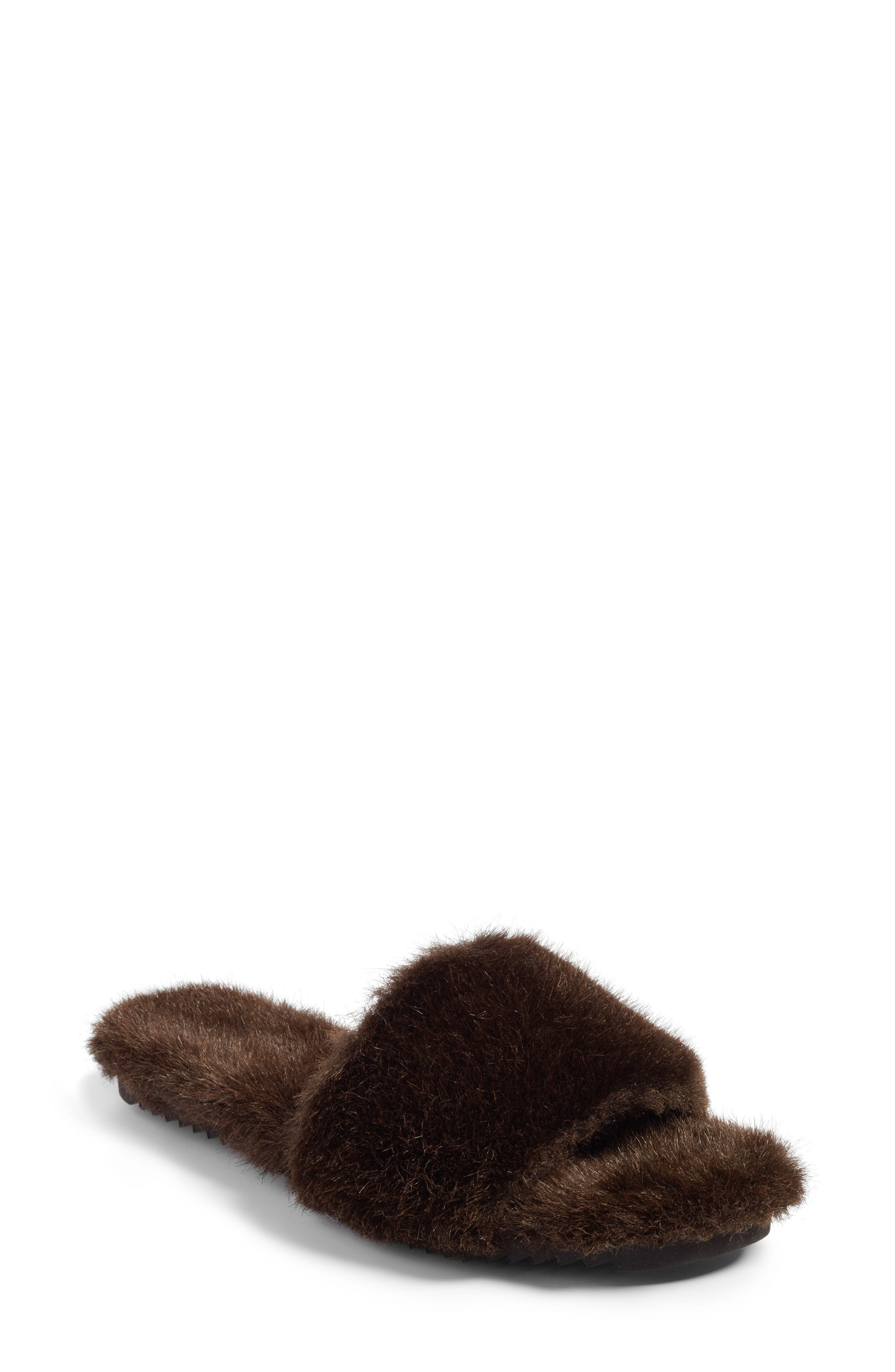 Faux Fur Slide Sandal,                             Main thumbnail 1, color,                             200