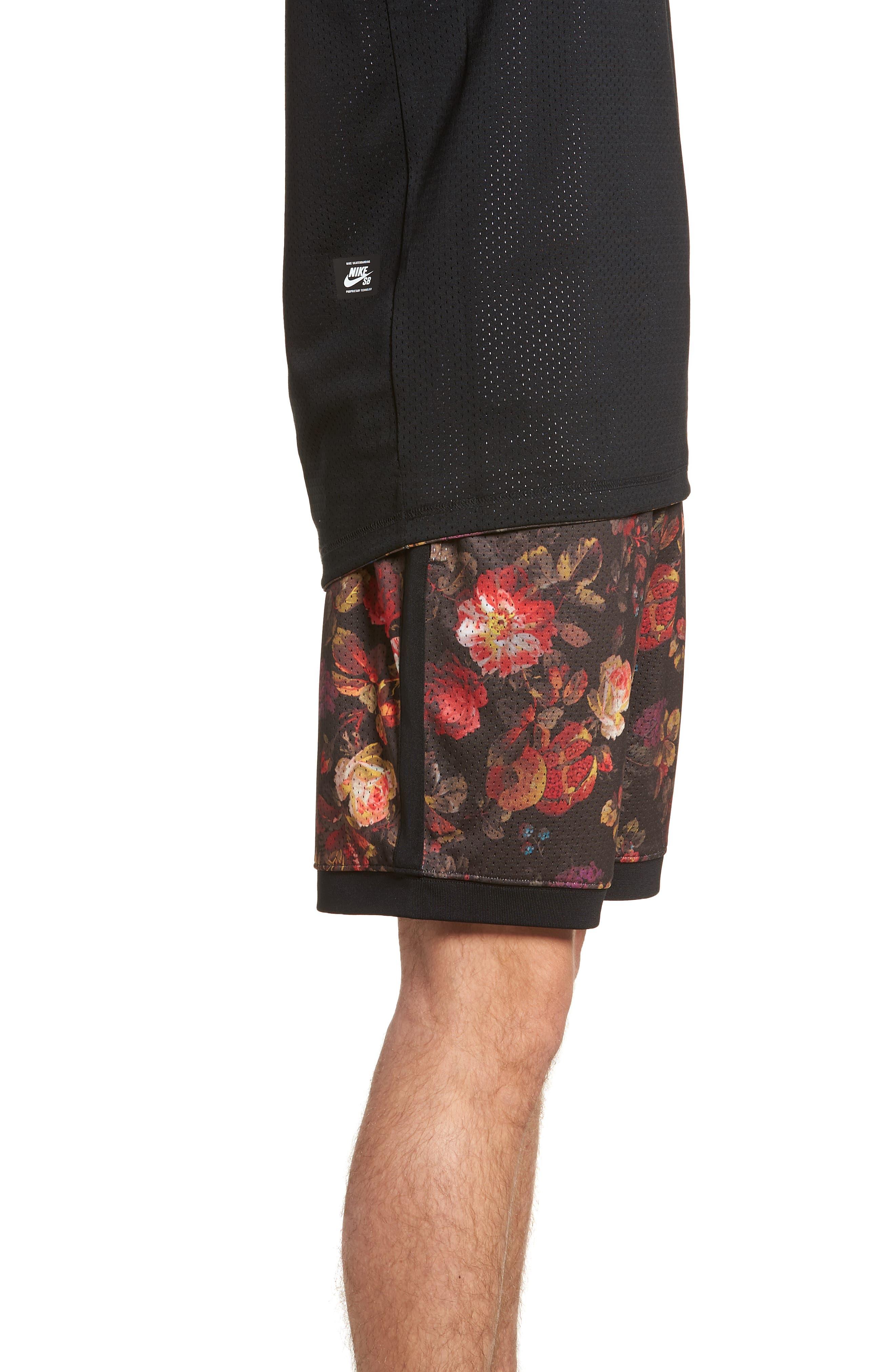 Dry Floral Shorts,                             Alternate thumbnail 3, color,                             BLACK/ WHITE