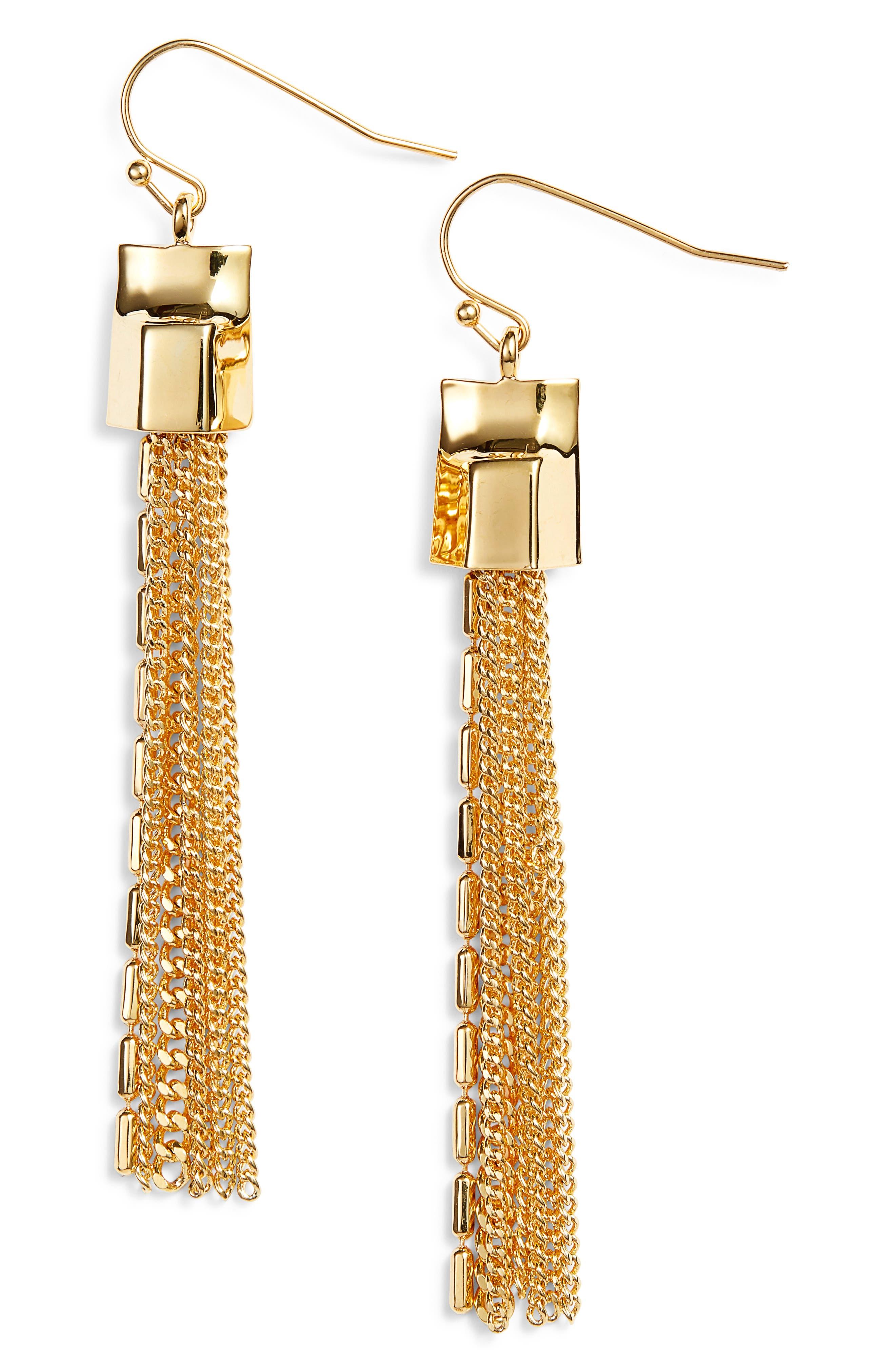 Mix Chain Tassel Drop Earrings,                             Main thumbnail 2, color,