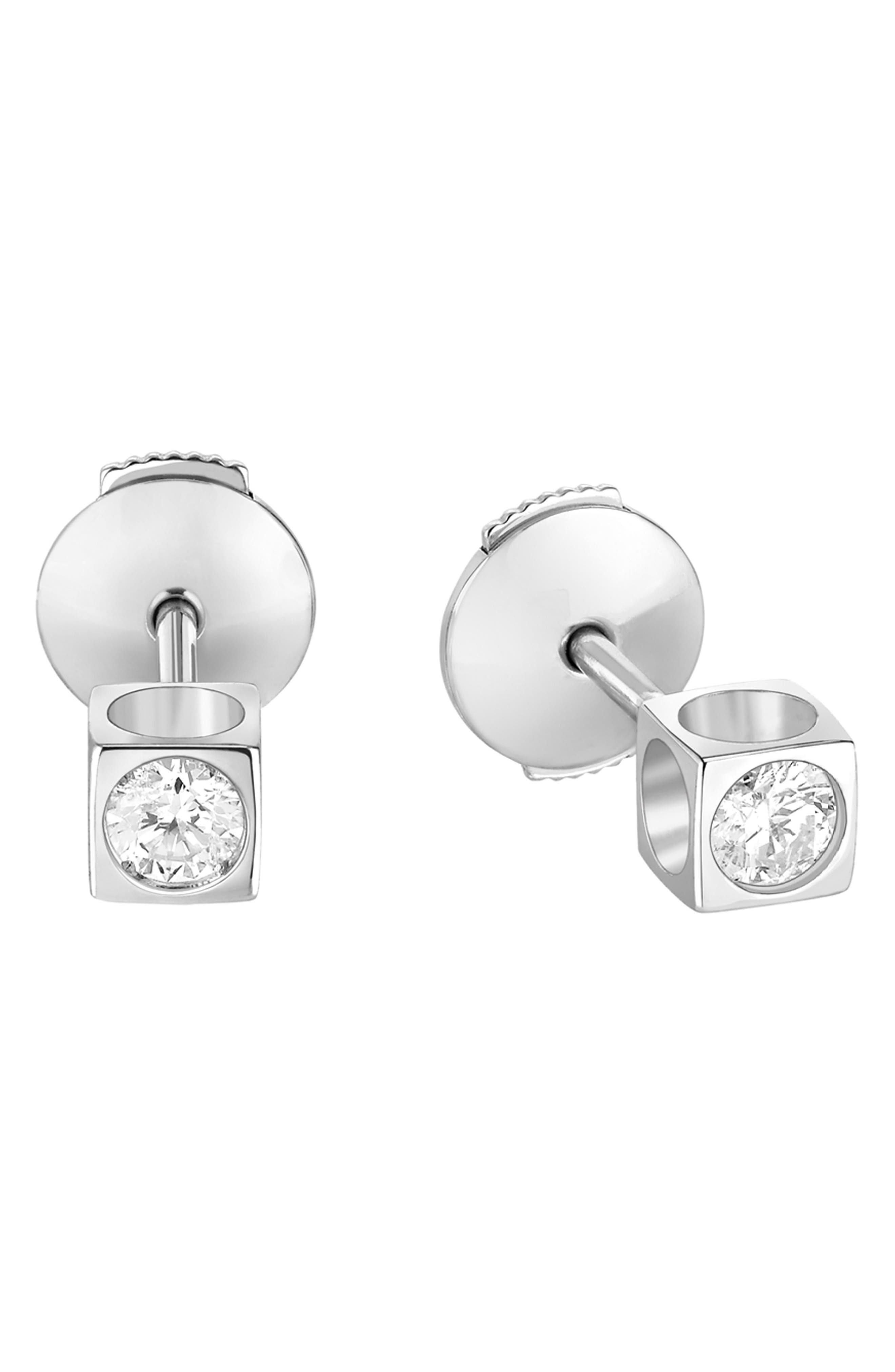 DINH VAN Le Cube Diamant 18K Gold Stud Earrings in White Gold