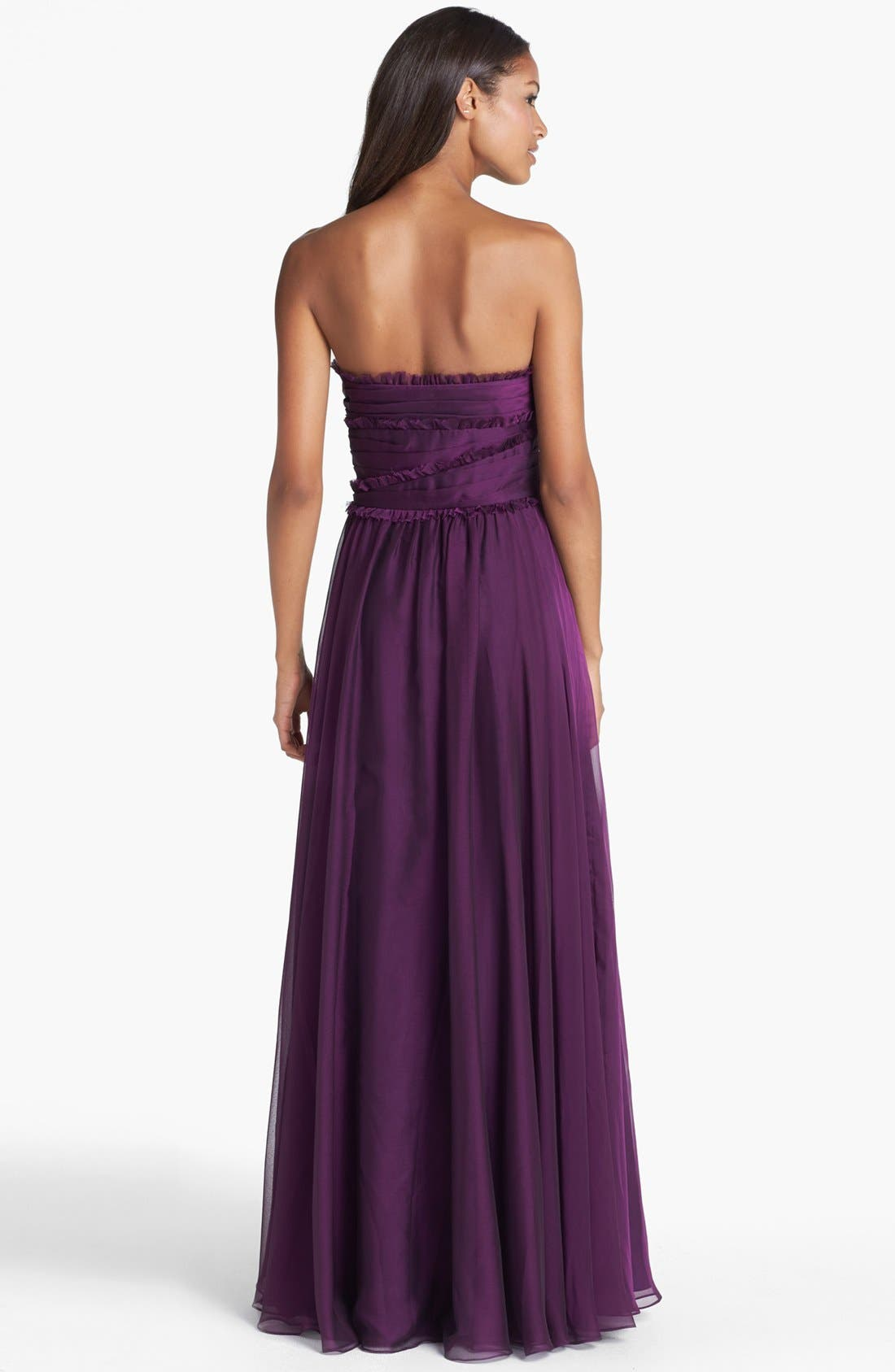 ML Monique Lhuillier Bridesmaids Strapless Chiffon Gown,                             Alternate thumbnail 52, color,