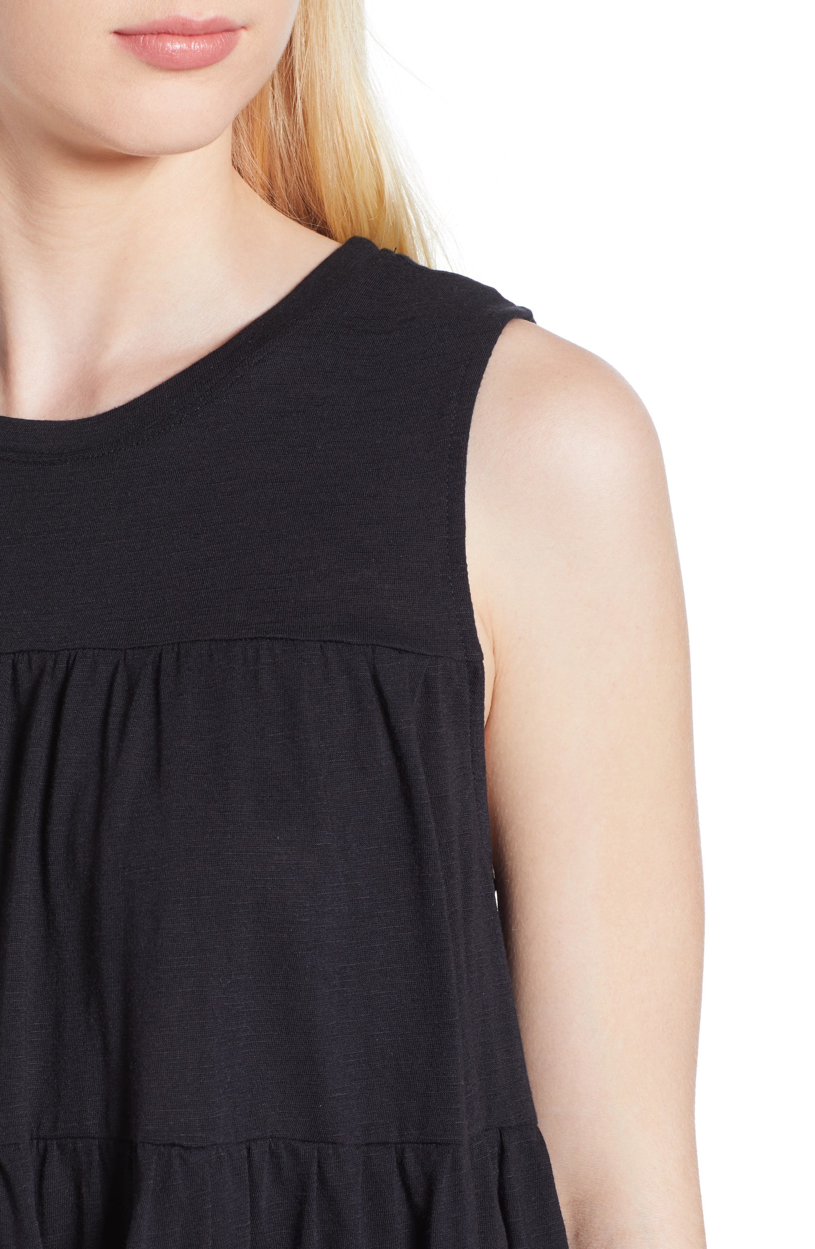 Tiered Ruffle Cotton Blend Tank Top,                             Alternate thumbnail 4, color,                             BLACK