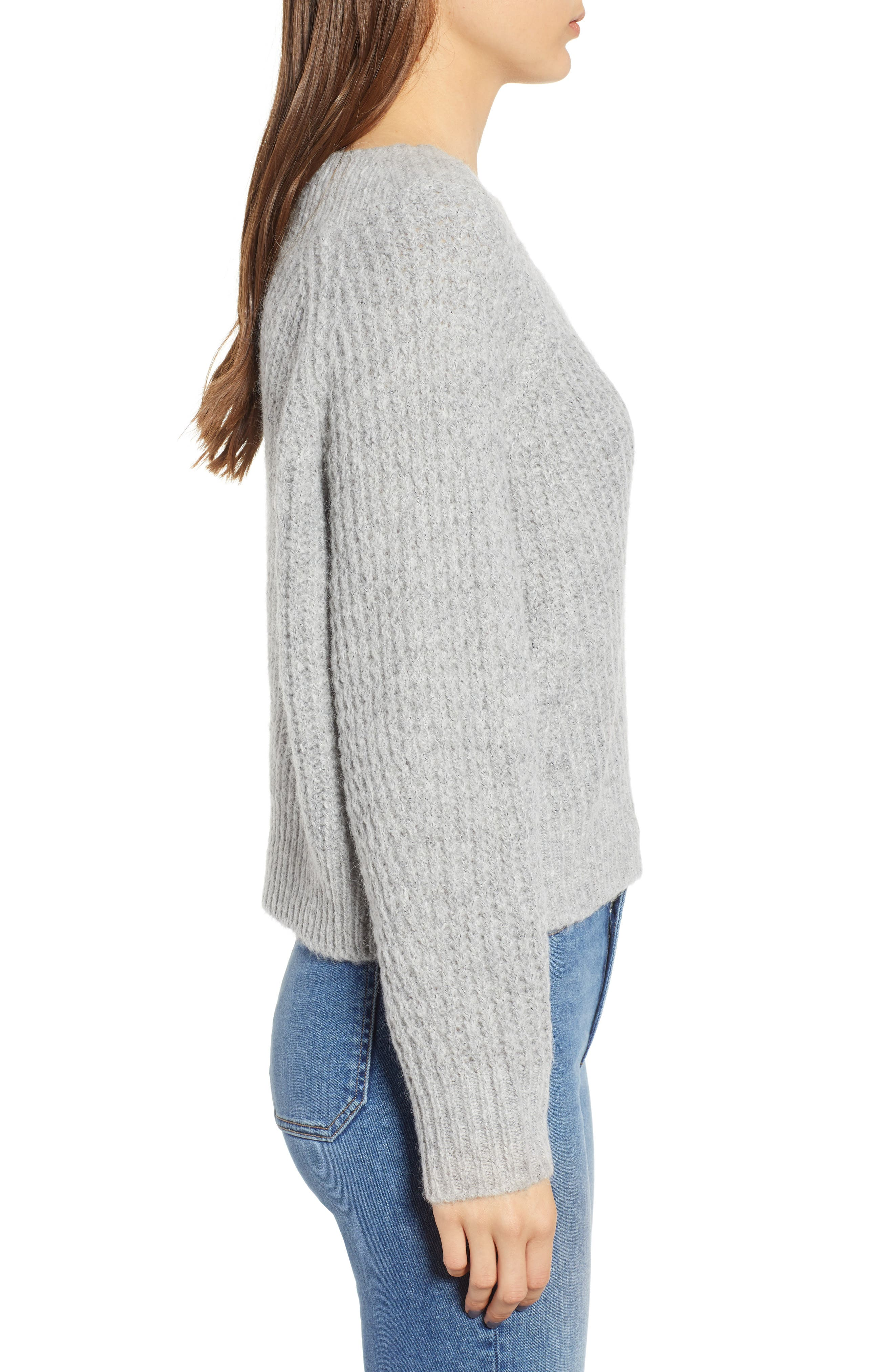 Chunky Crewneck Pullover Sweater,                             Alternate thumbnail 3, color,                             GREY PEARL HEATHER