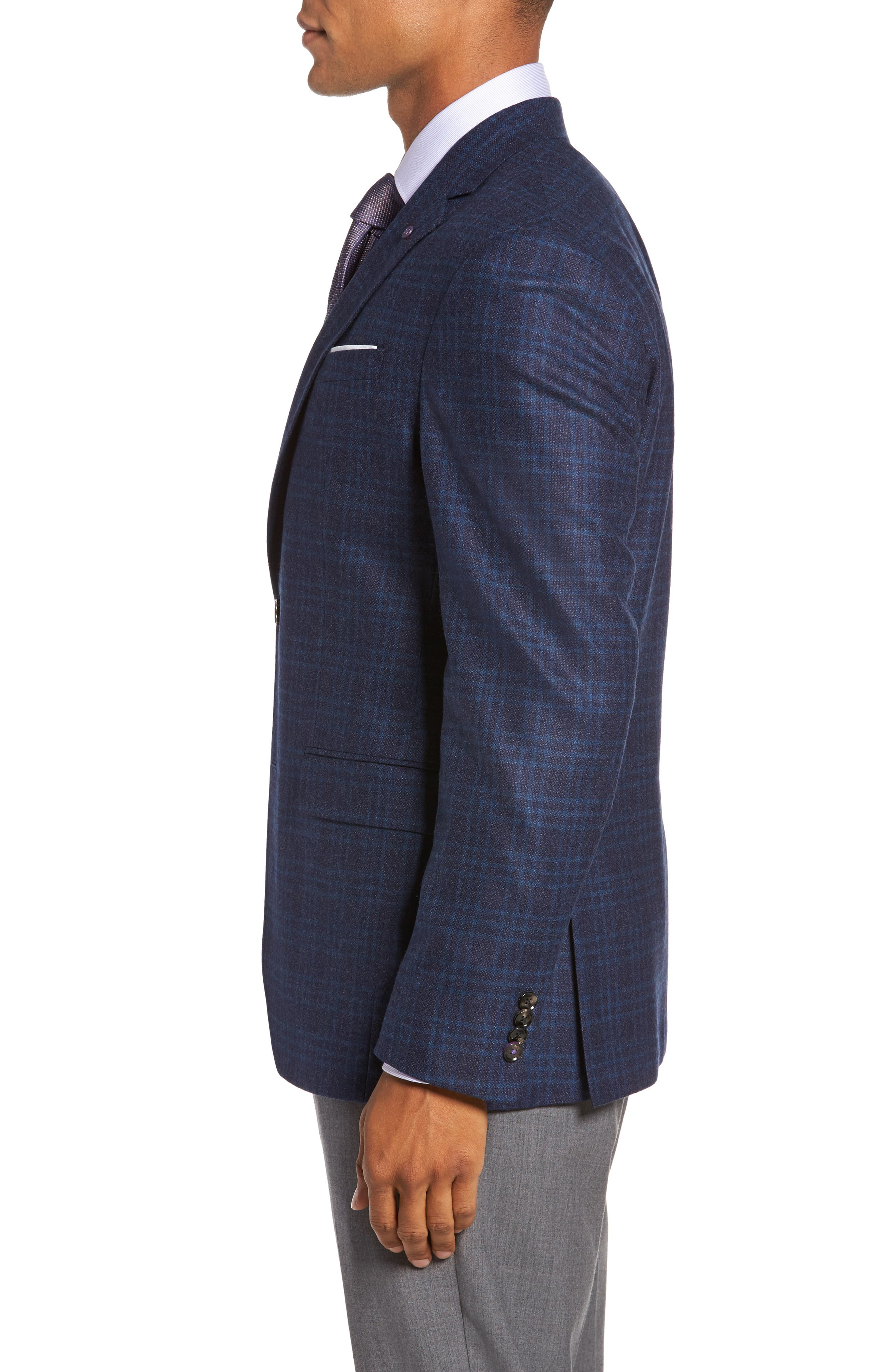 Trim Fit Plaid Wool Sport Coat,                             Alternate thumbnail 3, color,                             400