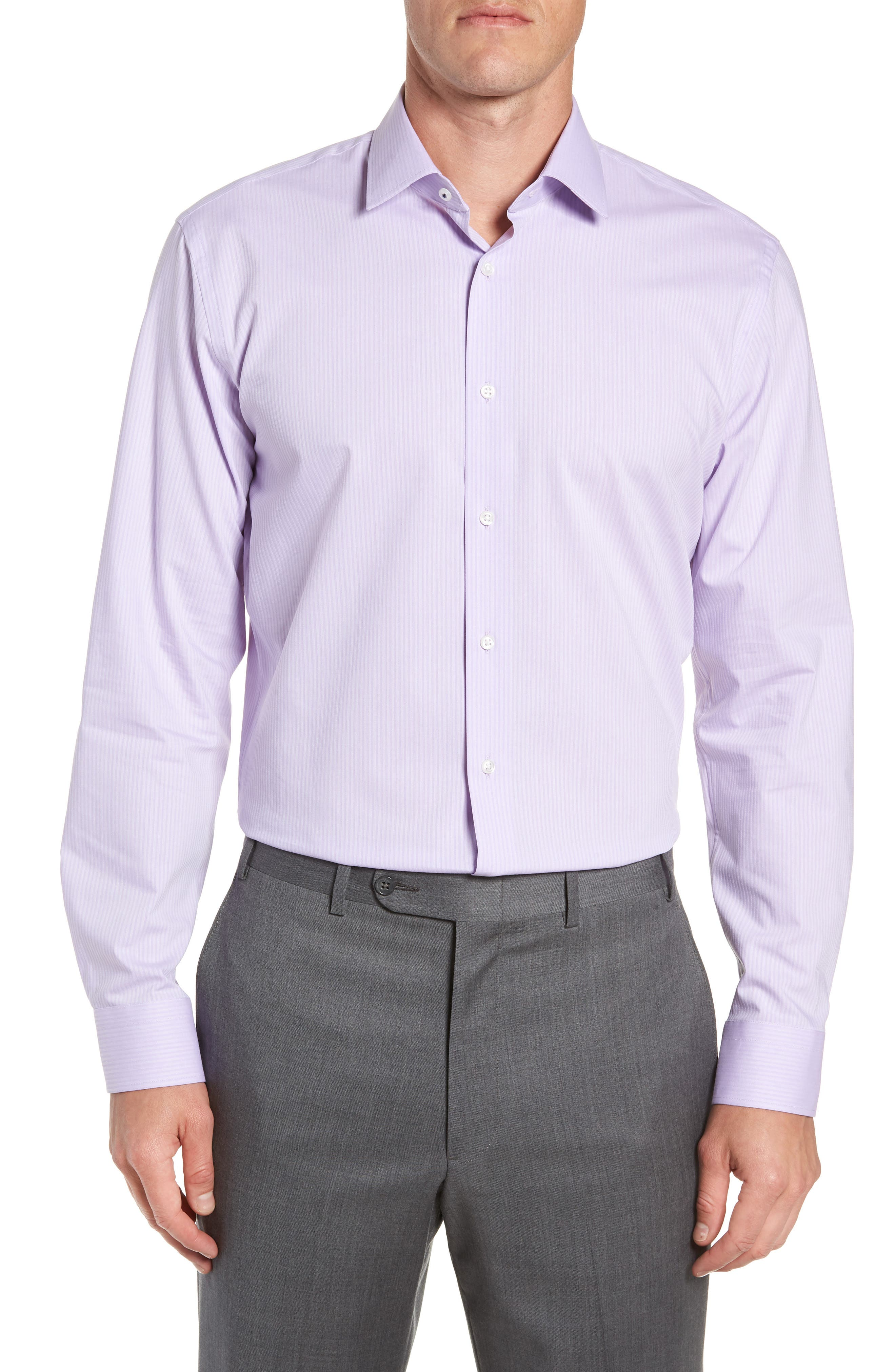 Men's Nordstrom Men's Shop Tech-Smart Trim Fit Stretch Stripe Dress Shirt