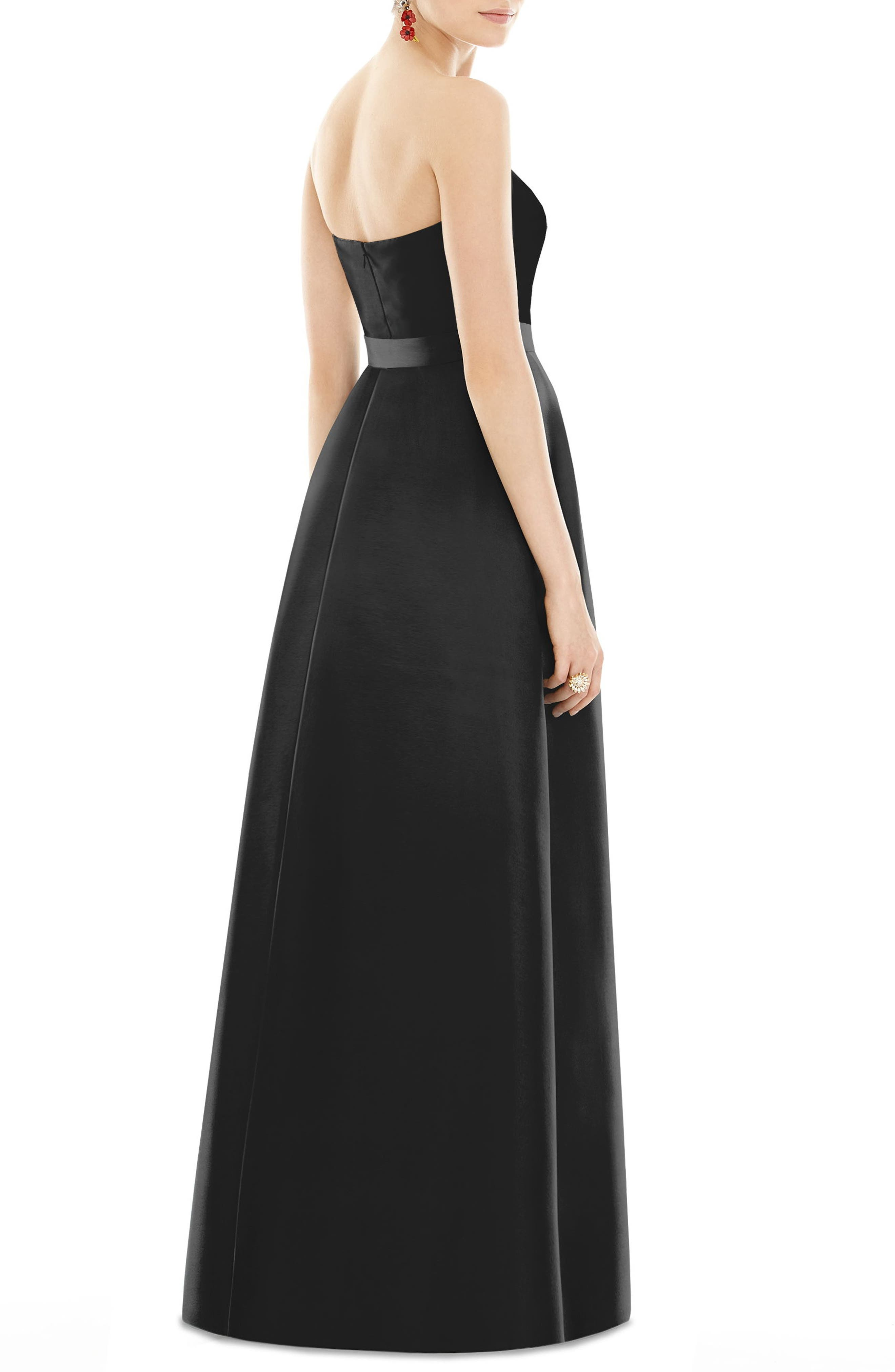 Strapless Sateen Gown,                             Alternate thumbnail 2, color,                             BLACK