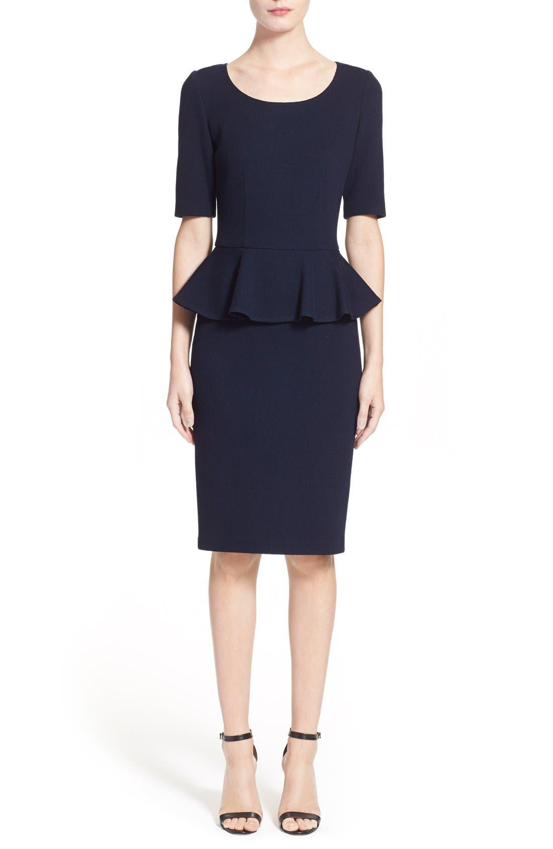 Peplum Milano Piqué Knit Dress,                             Main thumbnail 1, color,                             400