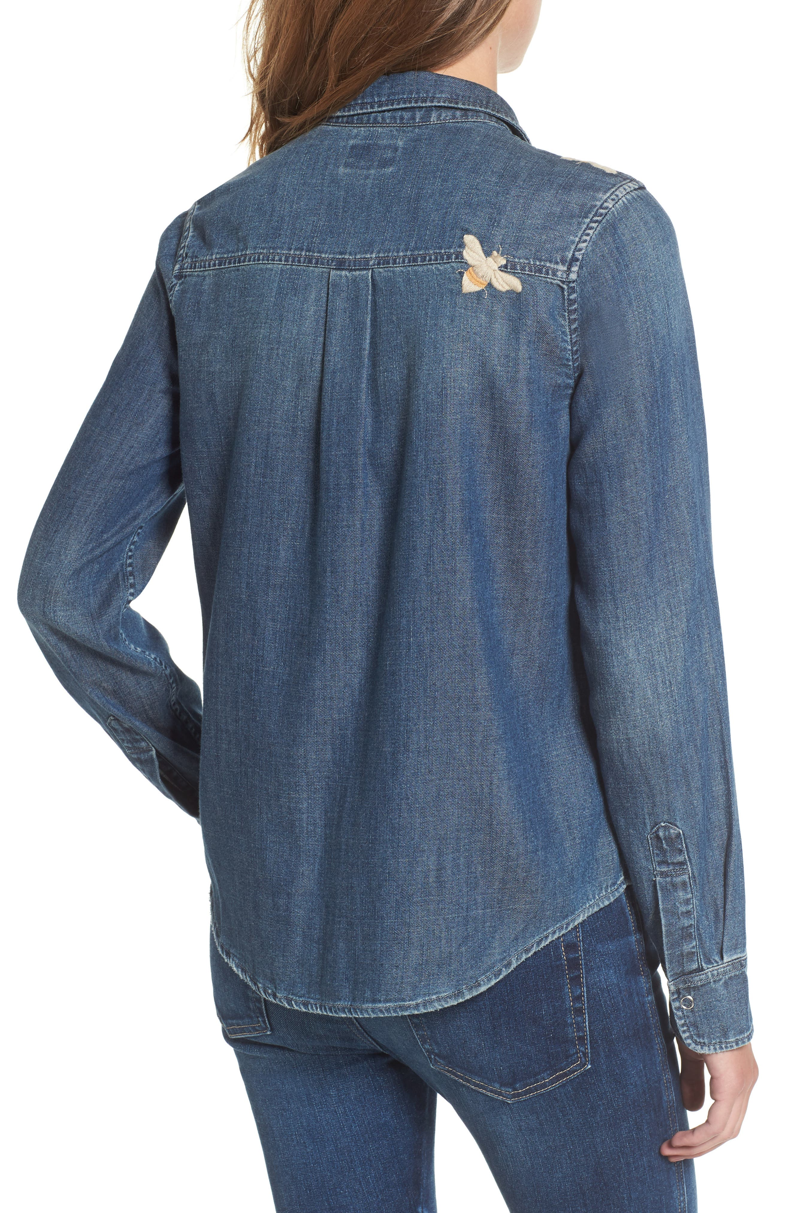 Joanna Embroidered Denim Shirt,                             Alternate thumbnail 2, color,
