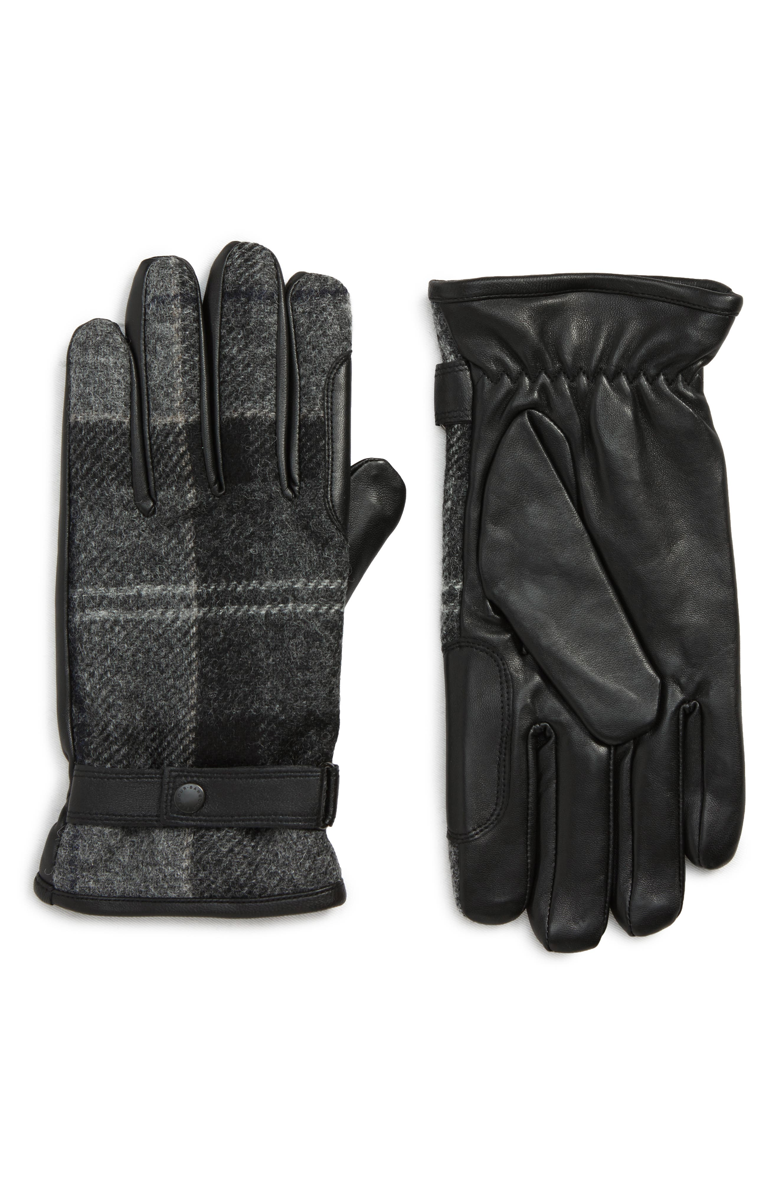 Newbrough Gloves,                             Main thumbnail 1, color,                             BLACK /GREY