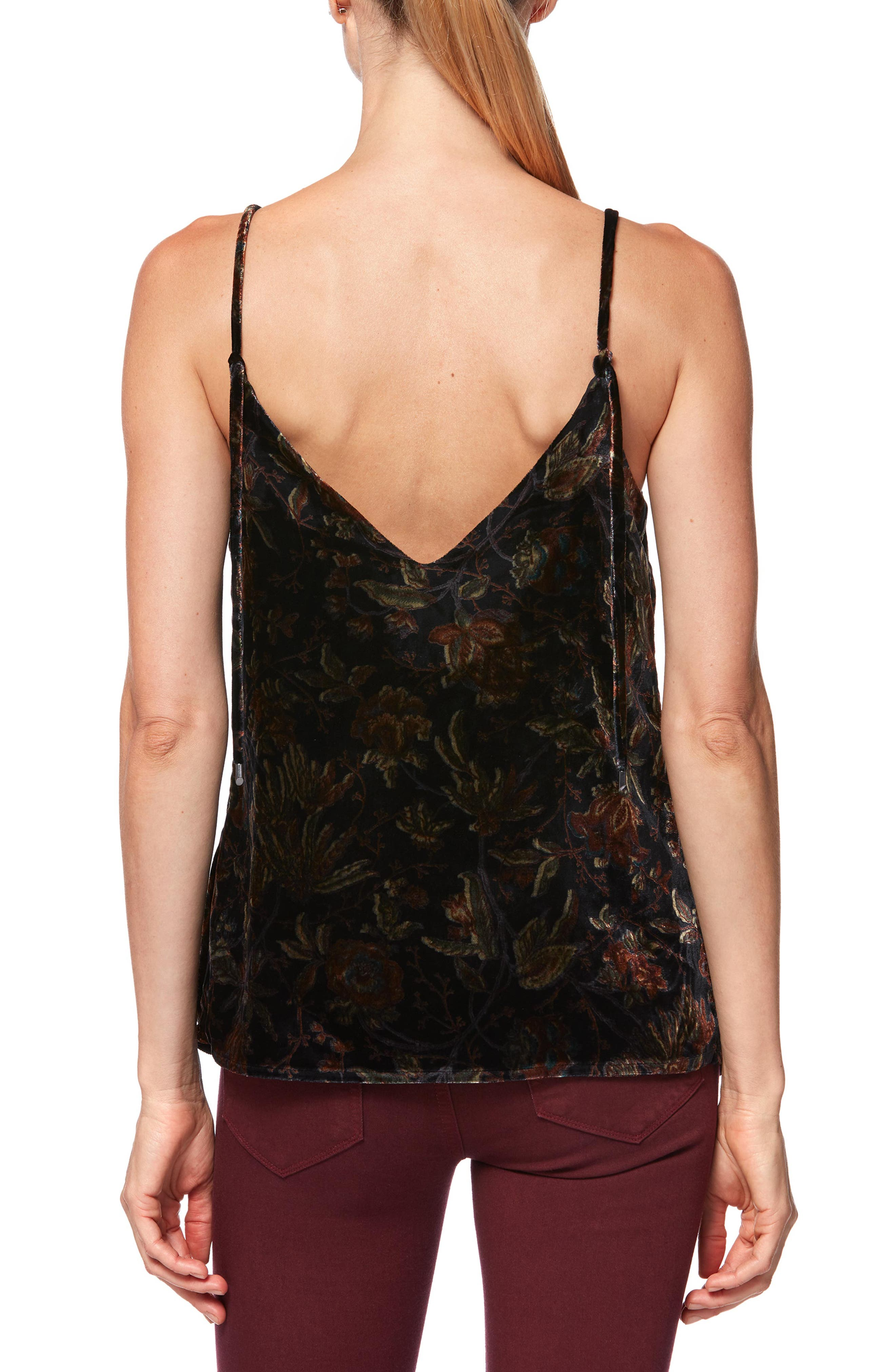 Cicely Velvet Camisole,                             Alternate thumbnail 2, color,                             BLACK GOLDEN SKY