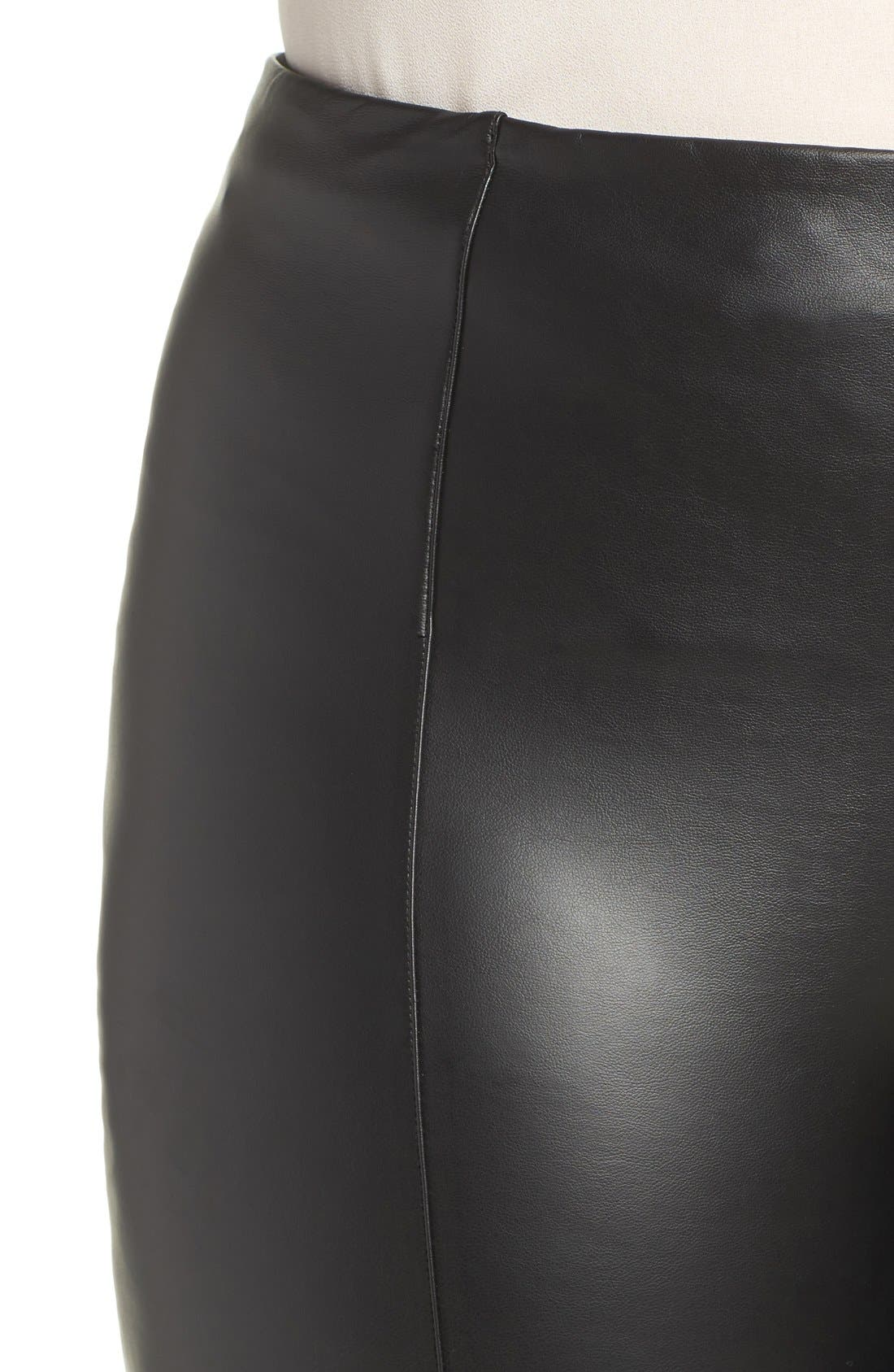 High Waist Faux Leather Leggings,                             Alternate thumbnail 3, color,                             001