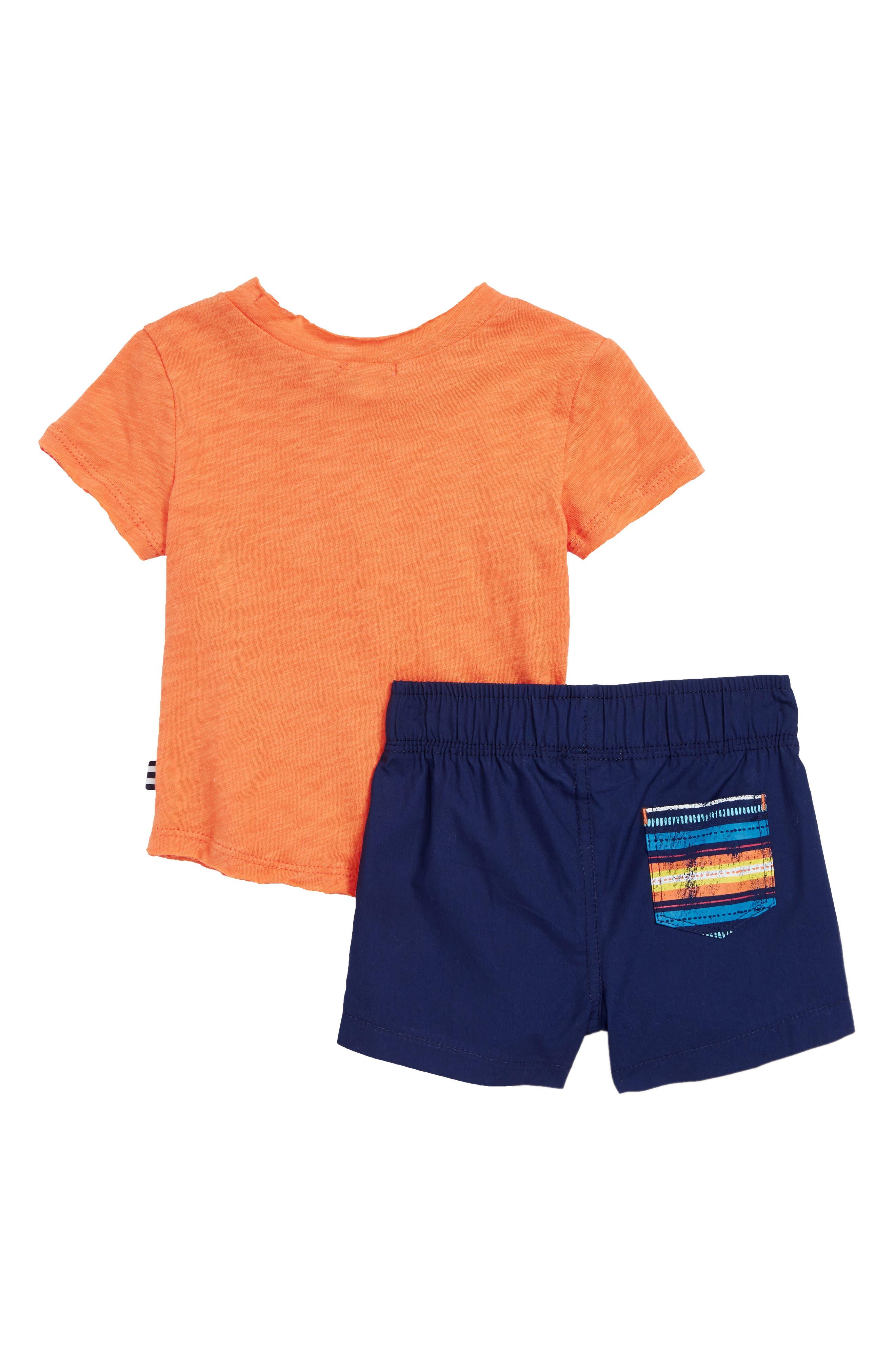 T-Shirt & Stripe Shorts Set,                             Alternate thumbnail 2, color,                             820