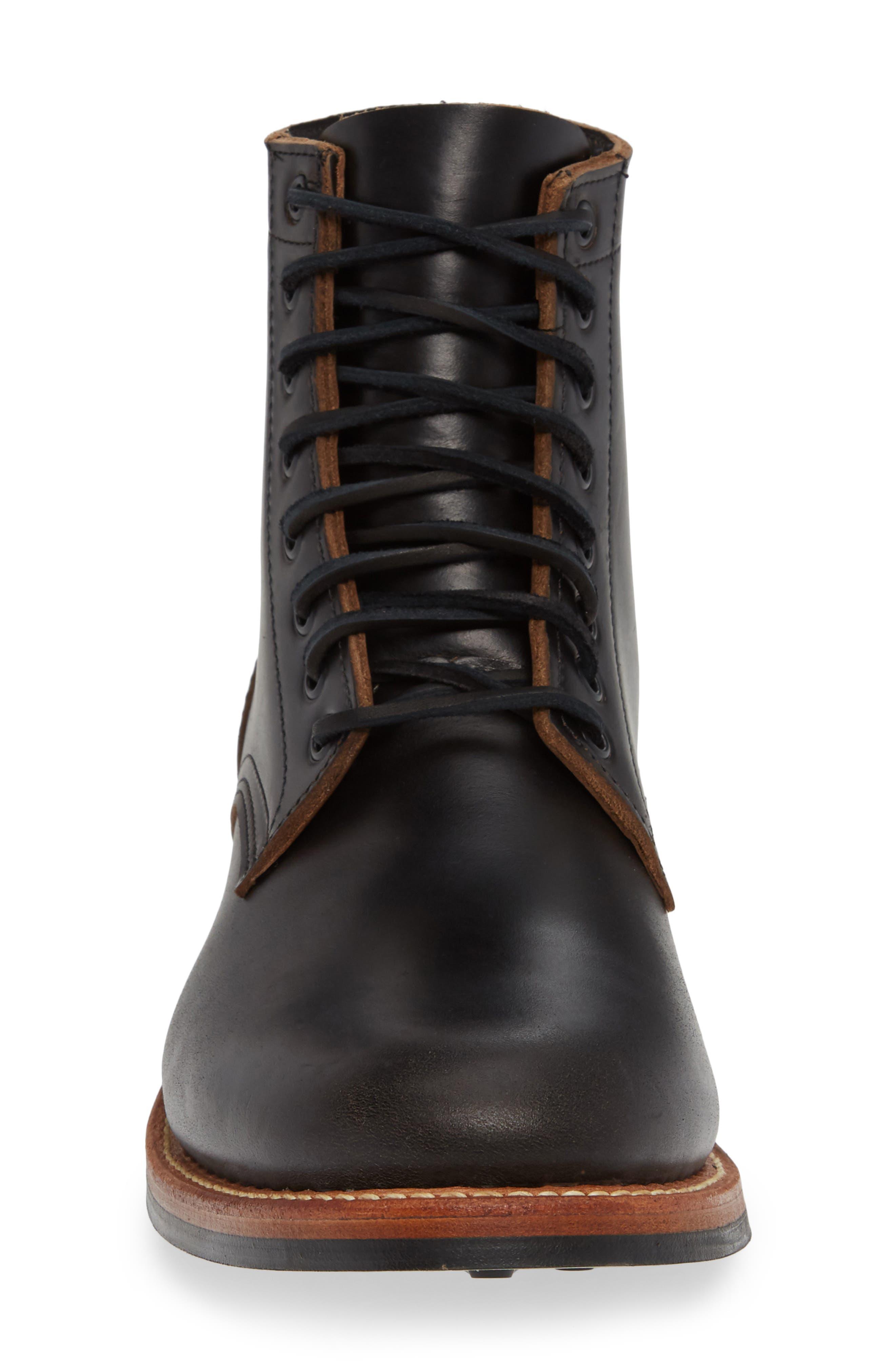 Trench Plain Toe boot,                             Alternate thumbnail 4, color,                             BLACK LEATHER