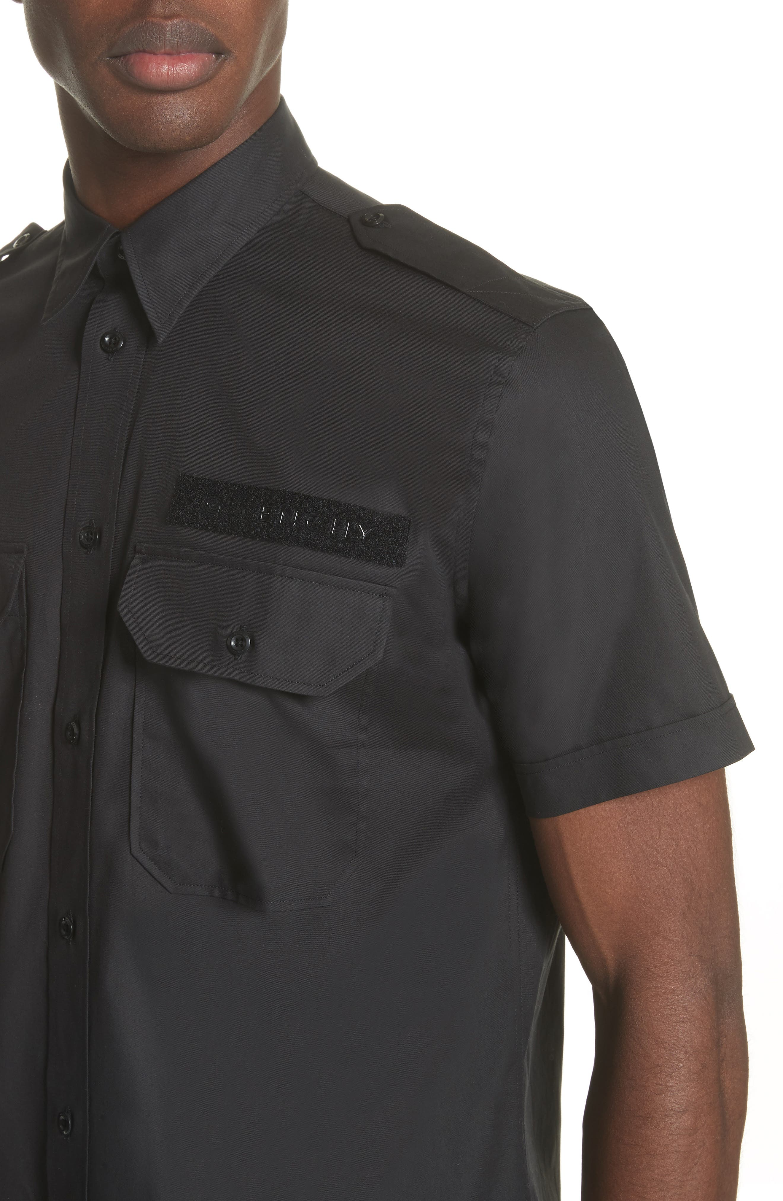 Short Sleeve Woven Shirt,                             Alternate thumbnail 4, color,                             001