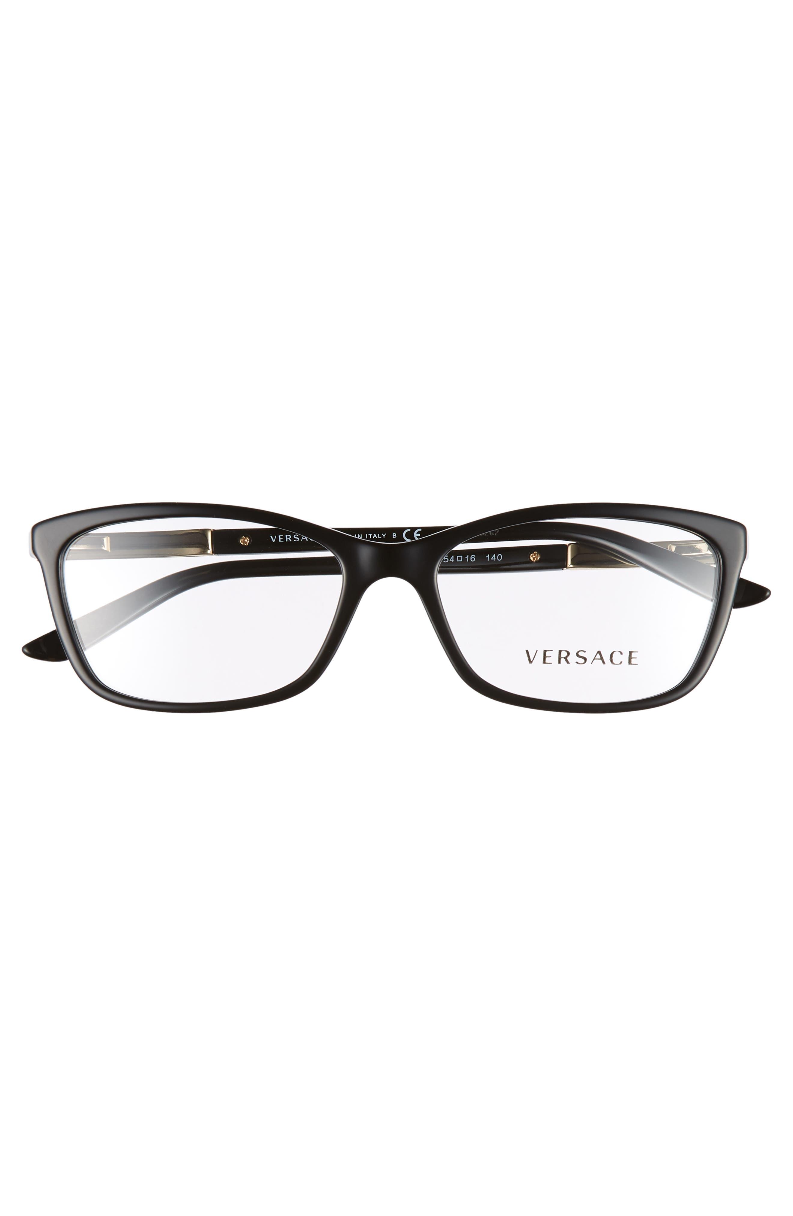 VERSACE,                             54mm Optical Glasses,                             Alternate thumbnail 3, color,                             BLACK
