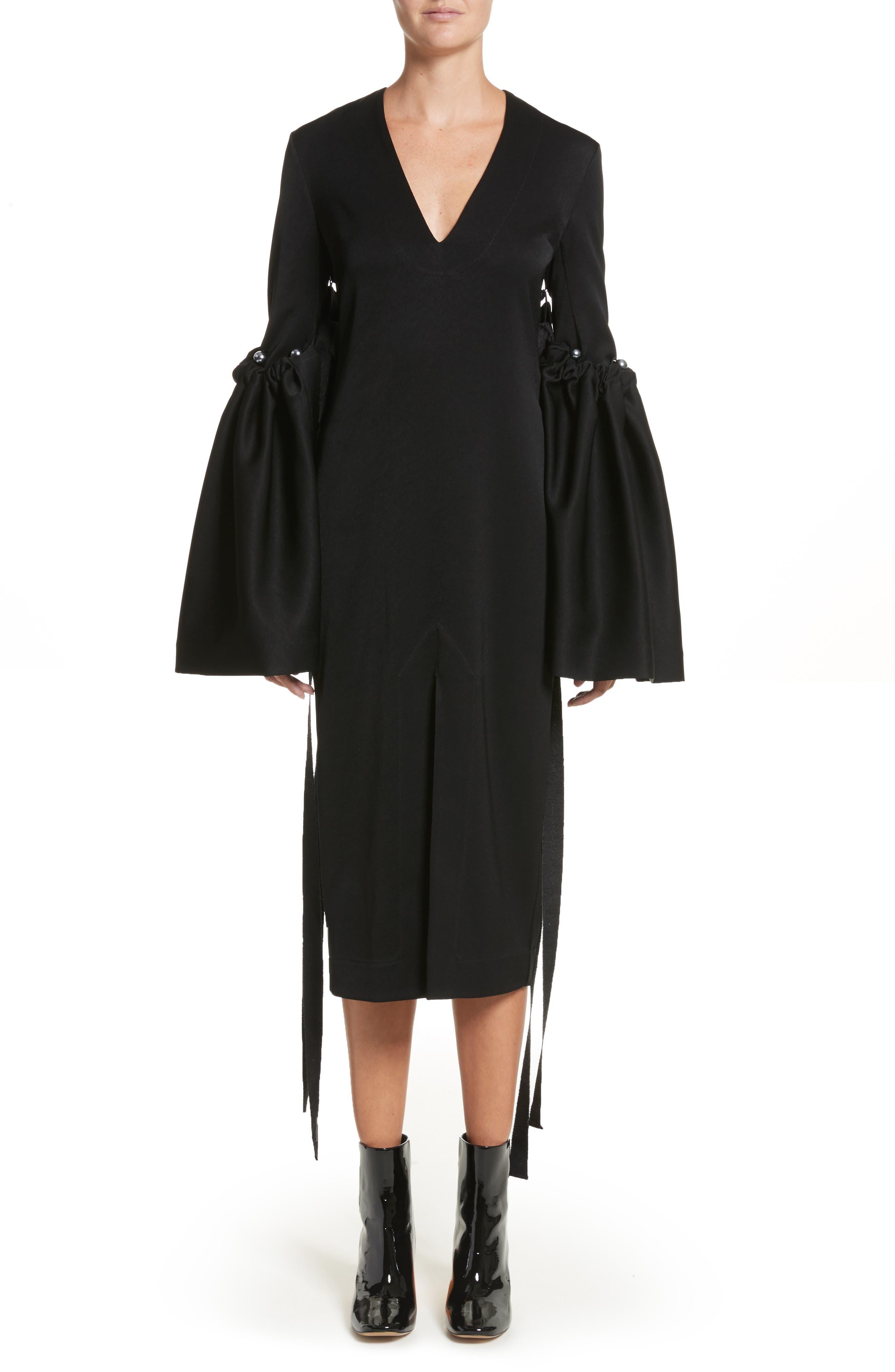 Adage Detachable Bell Sleeve Dress,                             Main thumbnail 1, color,                             001