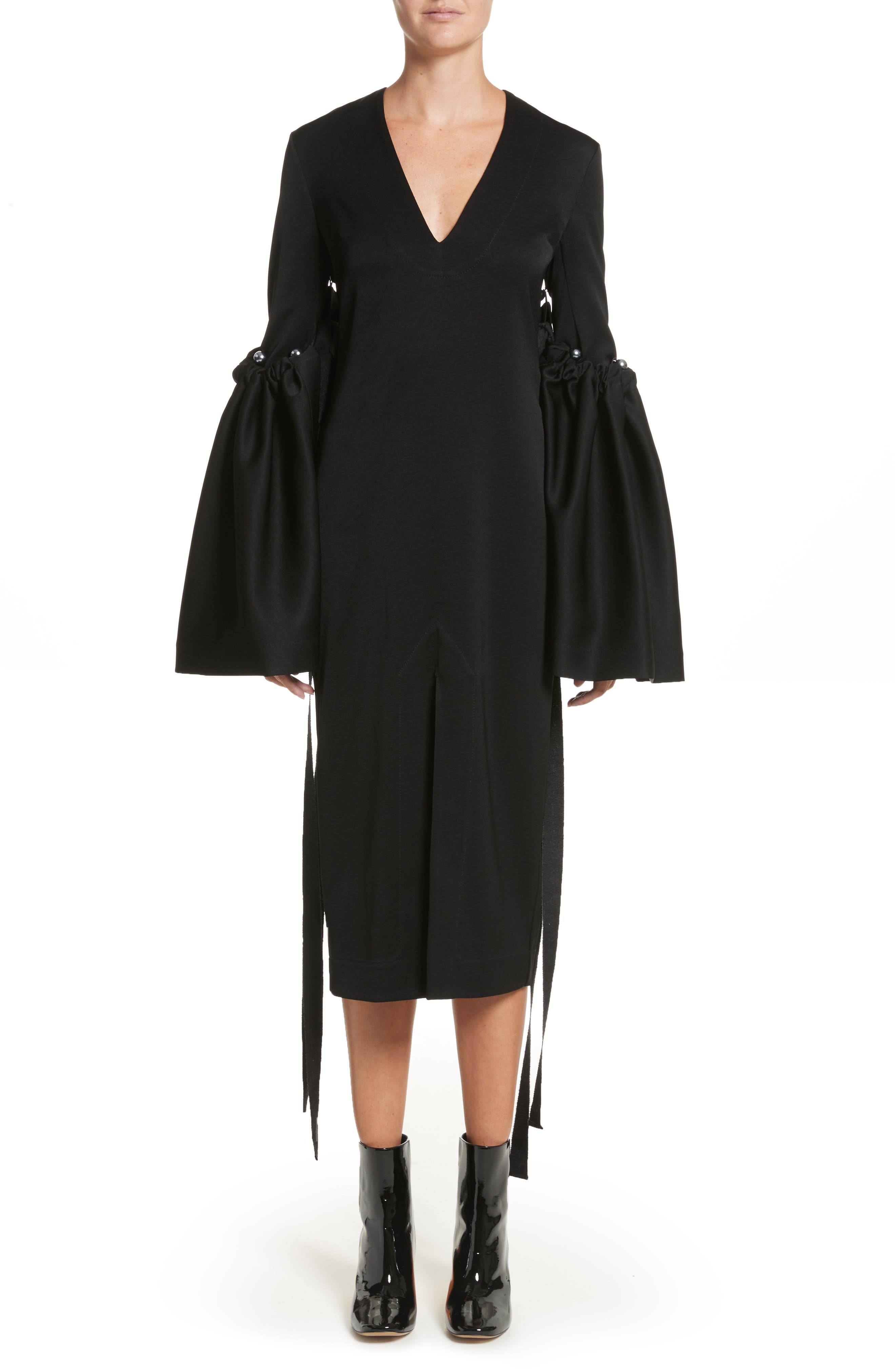 Adage Detachable Bell Sleeve Dress,                         Main,                         color, 001